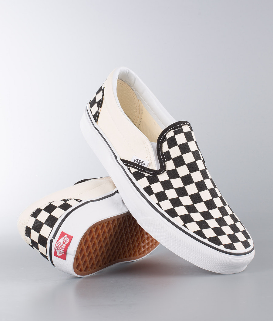 Vans Classic Slip-On Skor Black&White Checkerboard/White