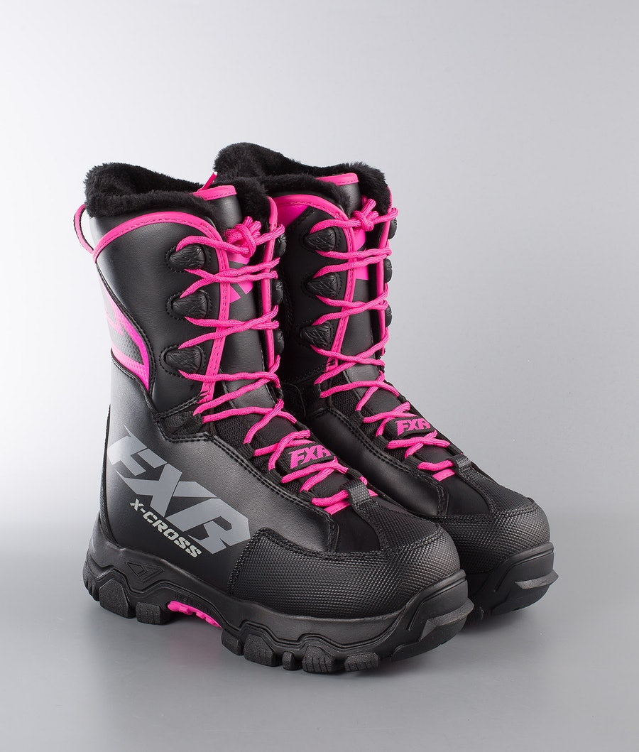 FXR X-Cross Speed Snowmobile Boots Black/Fuchsia