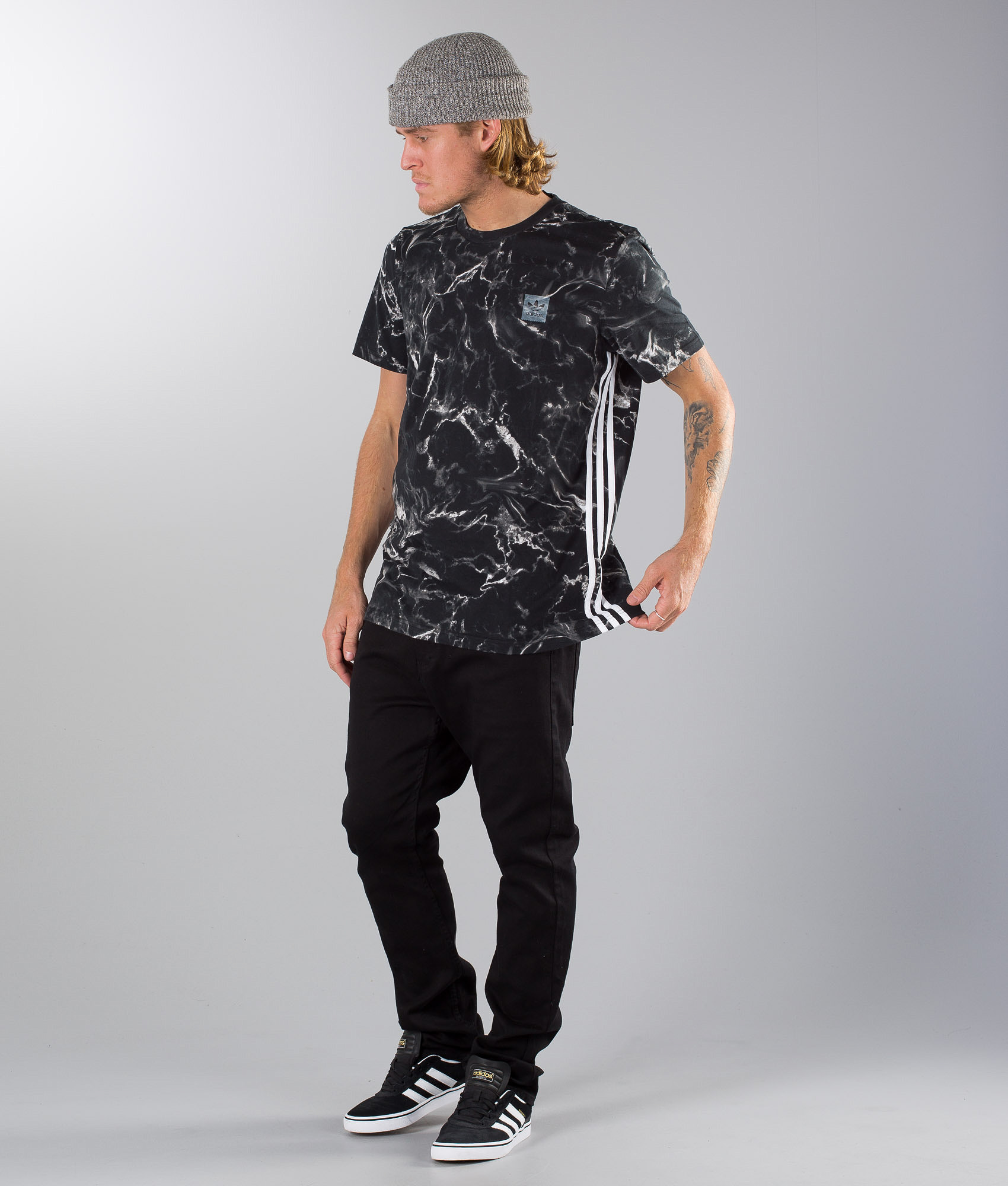 250a2cde Adidas Skateboarding Marble Stripe T-shirt Black/White - Ridestore.com