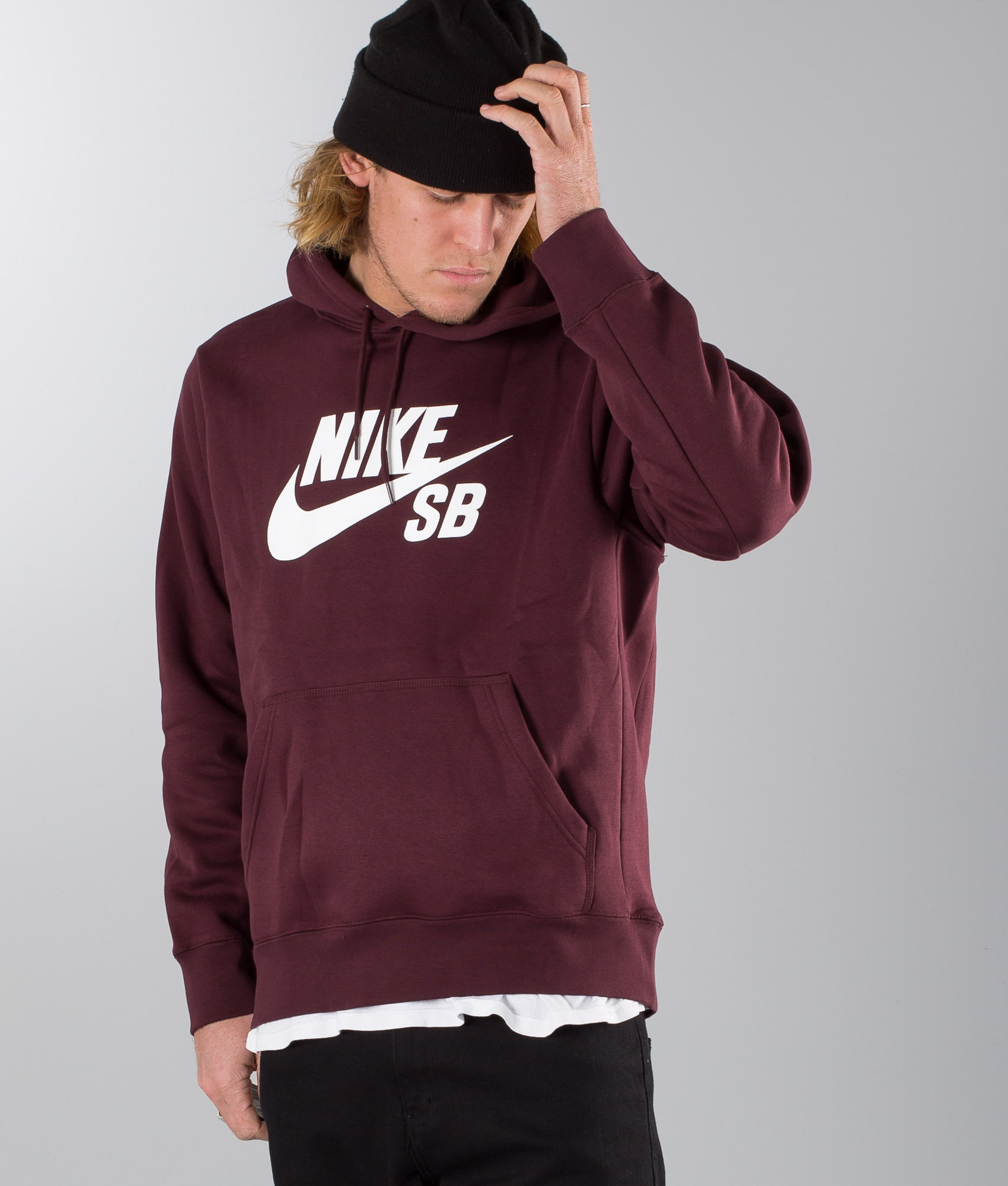 Nike Sb Icon Hoodie Burgundy Crush/White - Ridestore.com