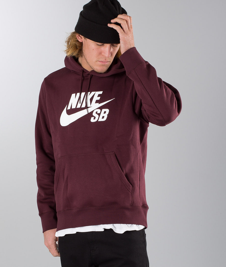 Nike Sb Icon Hoodie Burgundy Crush/White