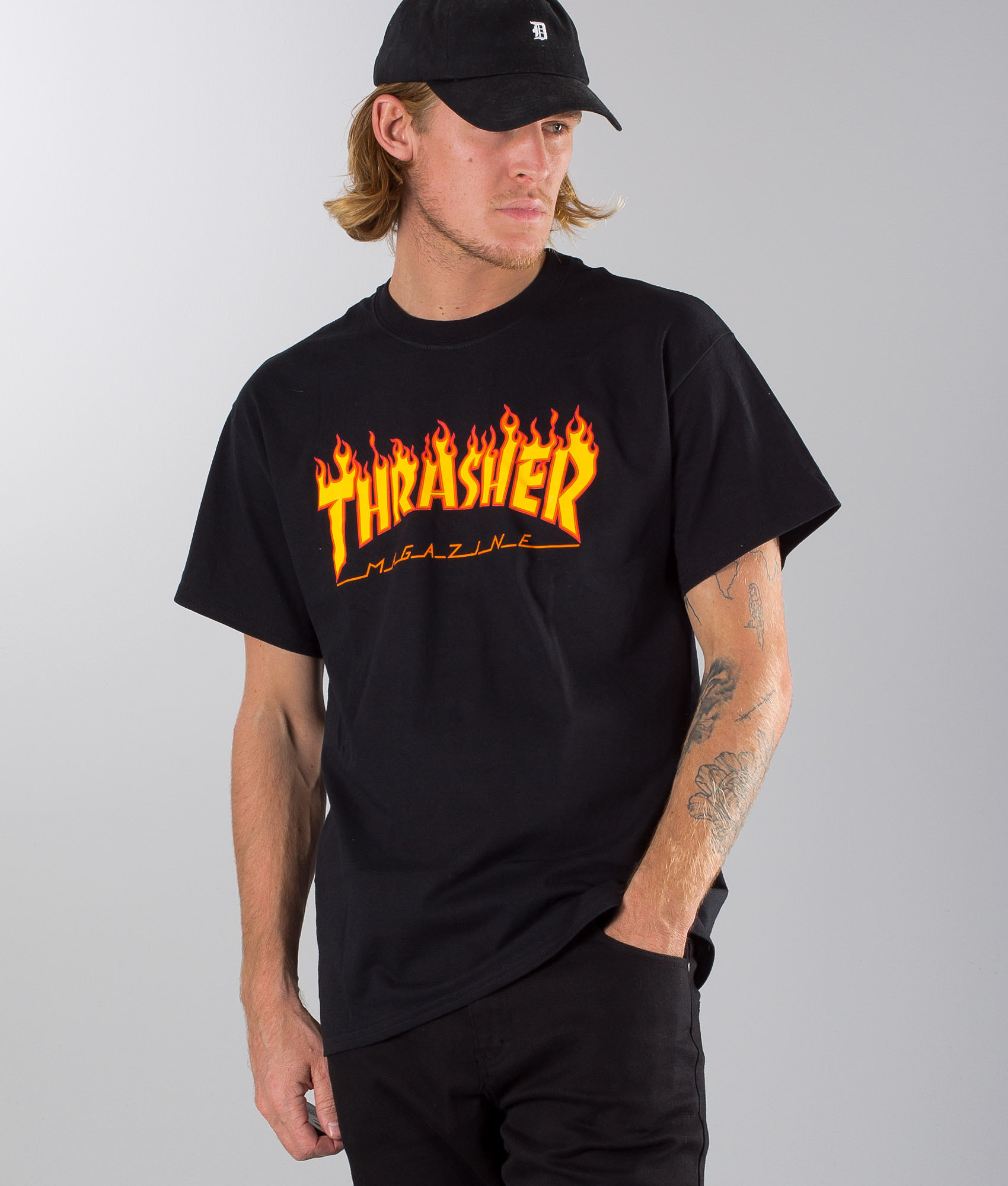 Thrasher Flame T-shirt Black - Ridestore com