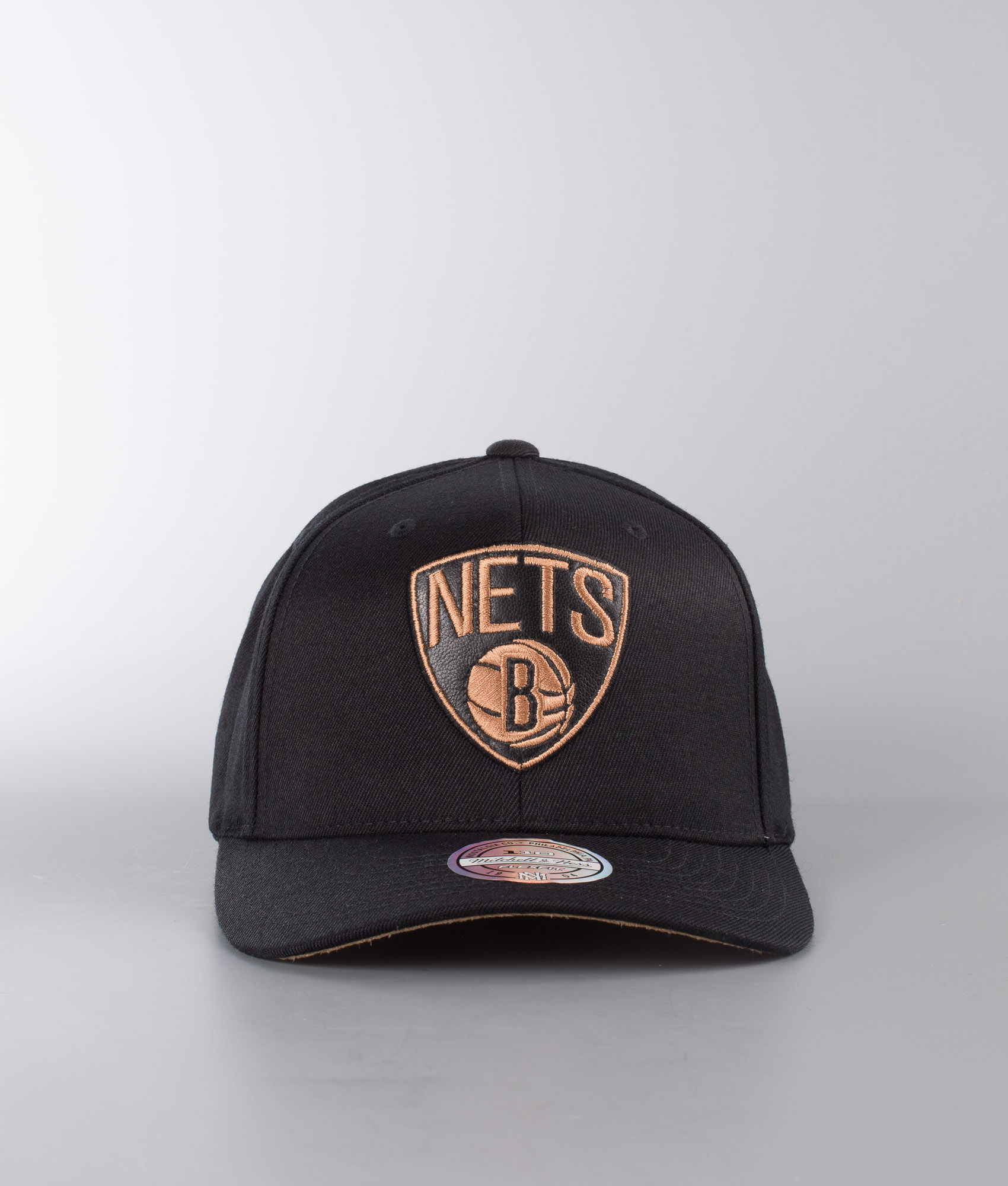 buy online 6f311 e3086 ... switzerland mitchell and ness leather logo 110 brooklyn nets cap 2efc6  b19b8