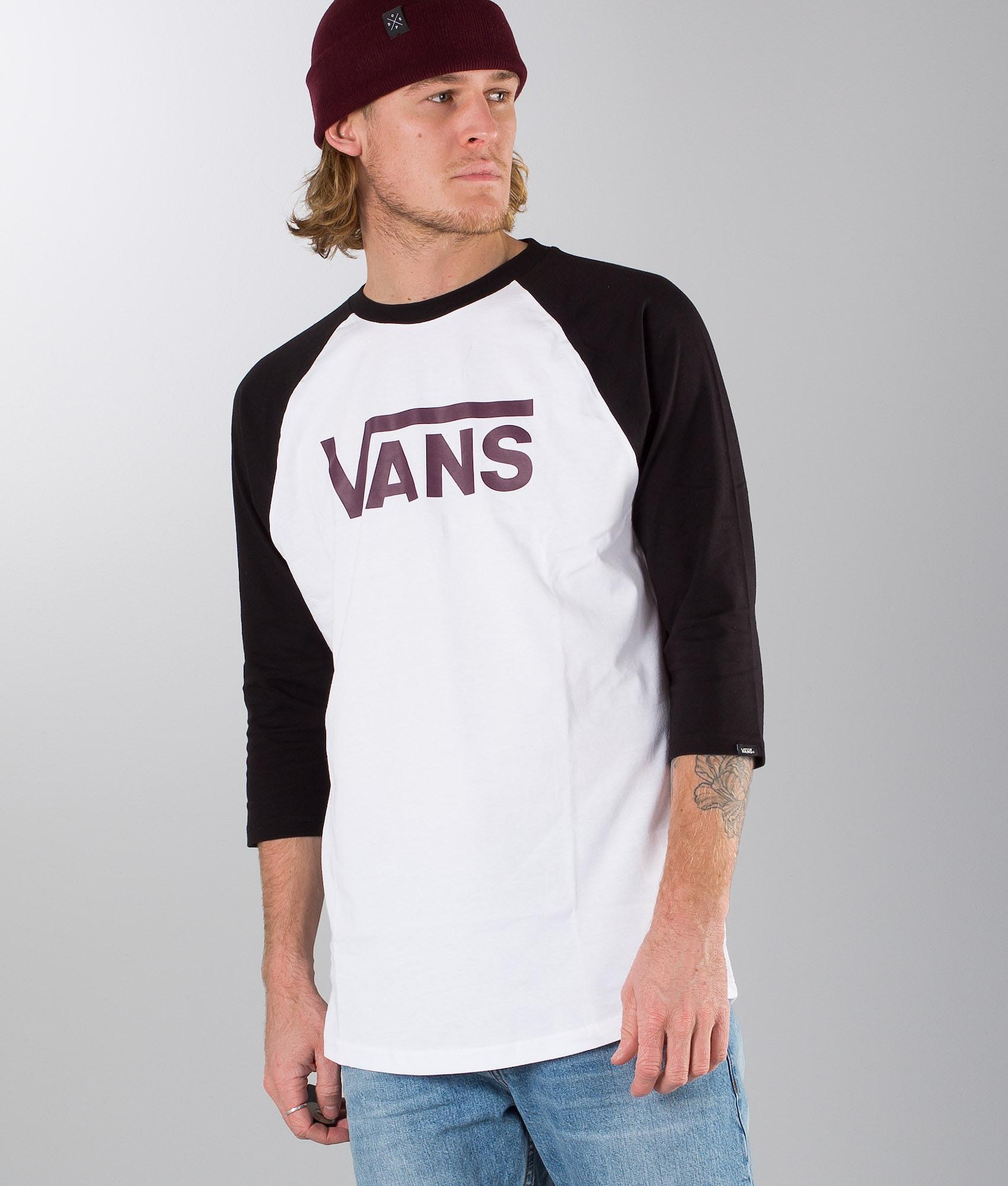 52eab14df6 Vans Classic Raglan T-shirt White-Black-Port Royale - Ridestore.com