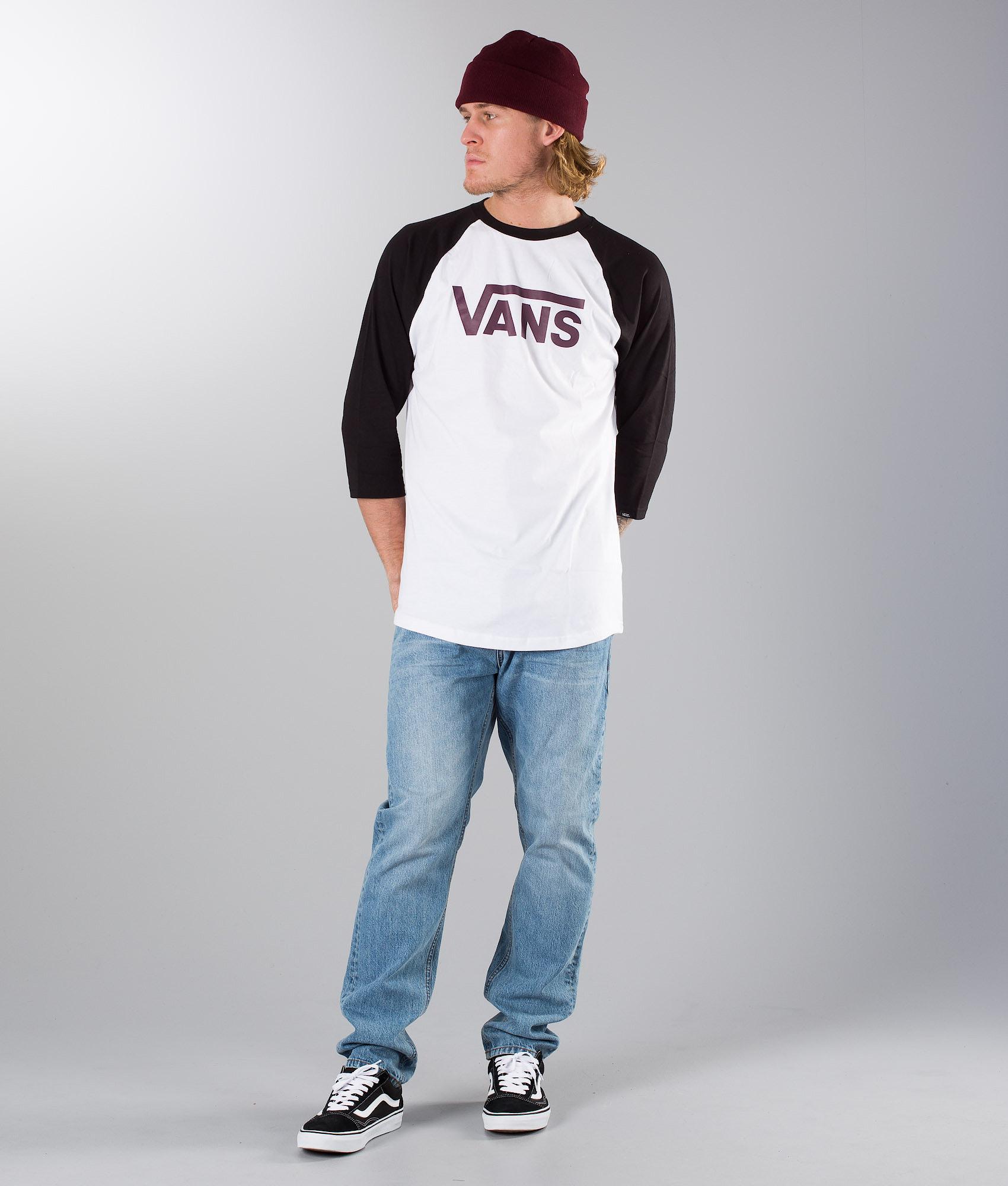 312cab9ba23250 Vans Classic Raglan T-shirt White-Black-Port Royale - Ridestore.com