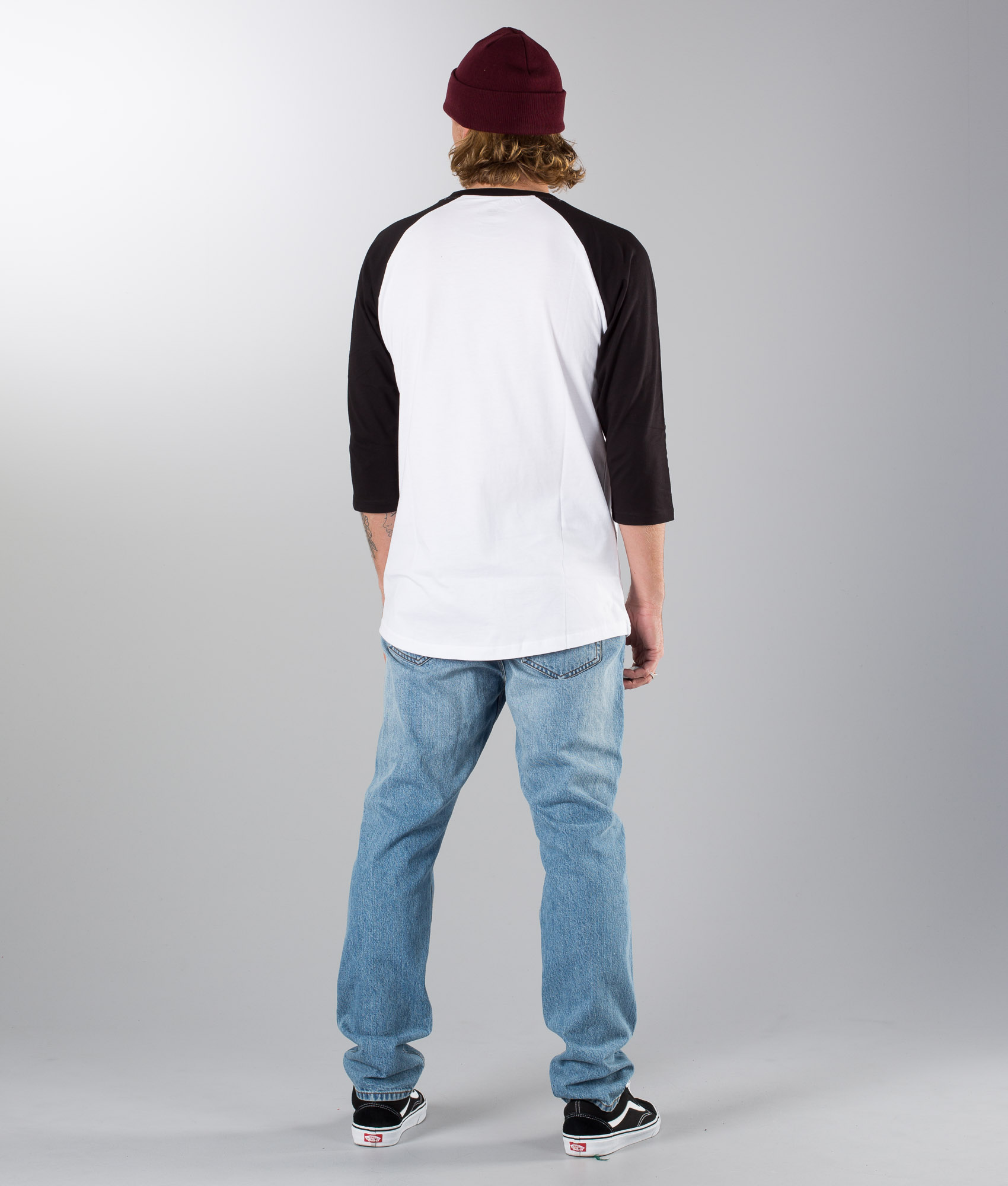 Vans Classic Raglan T shirt White Black Port Royale