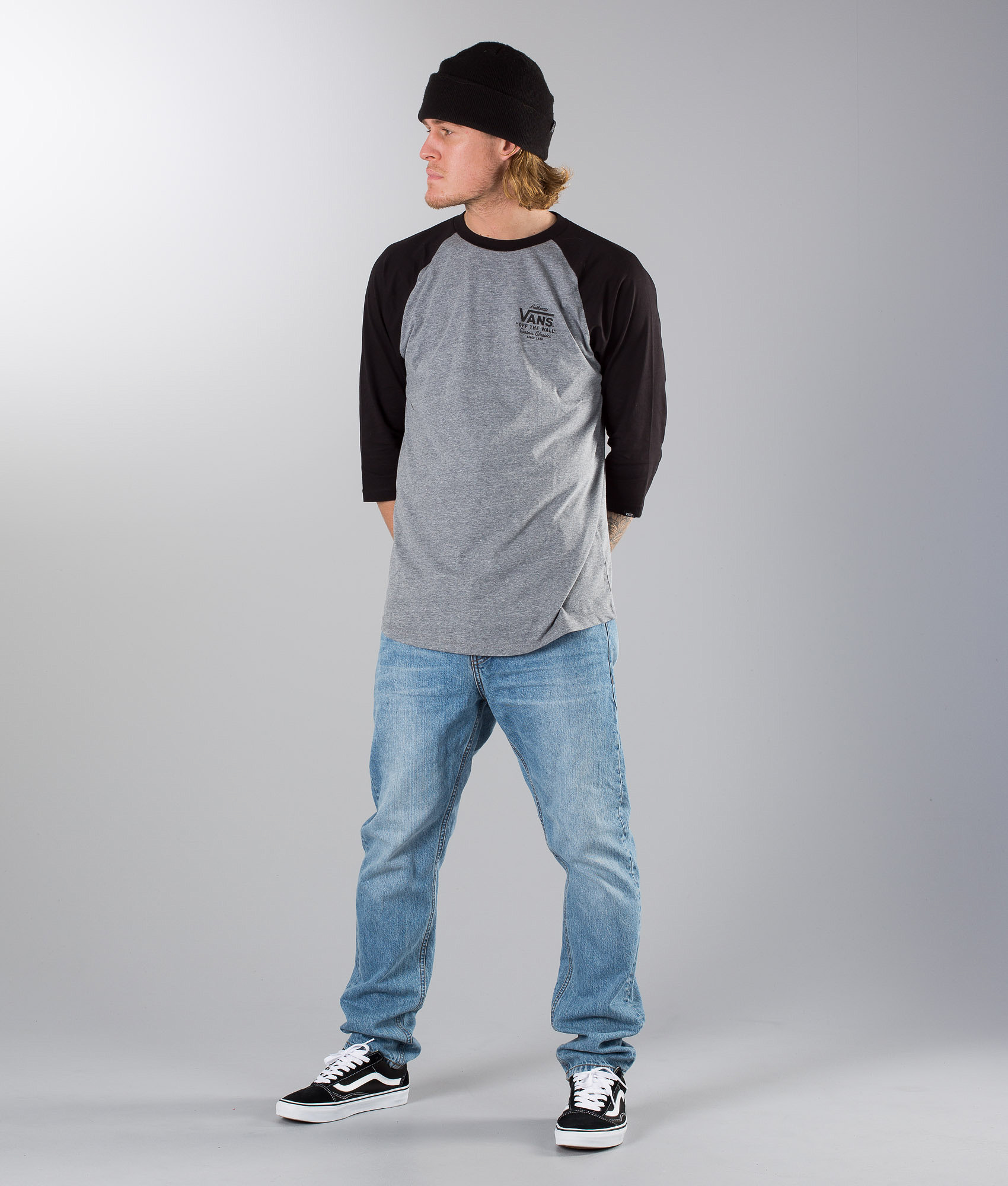 016c1920618 Vans Holder St Raglan T-shirt Heather Grey-Black - Ridestore.com