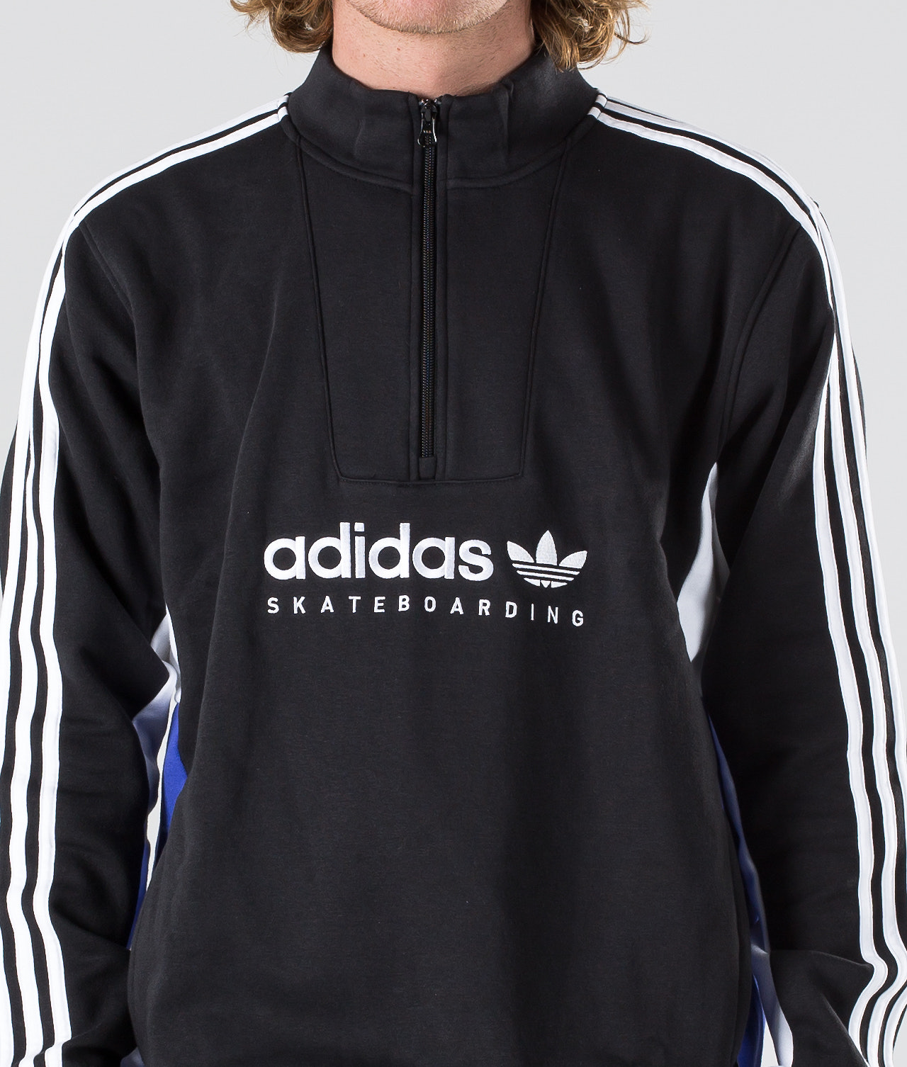 7113034faa Adidas Skateboarding Apian Sweater Black White Active Blue ...