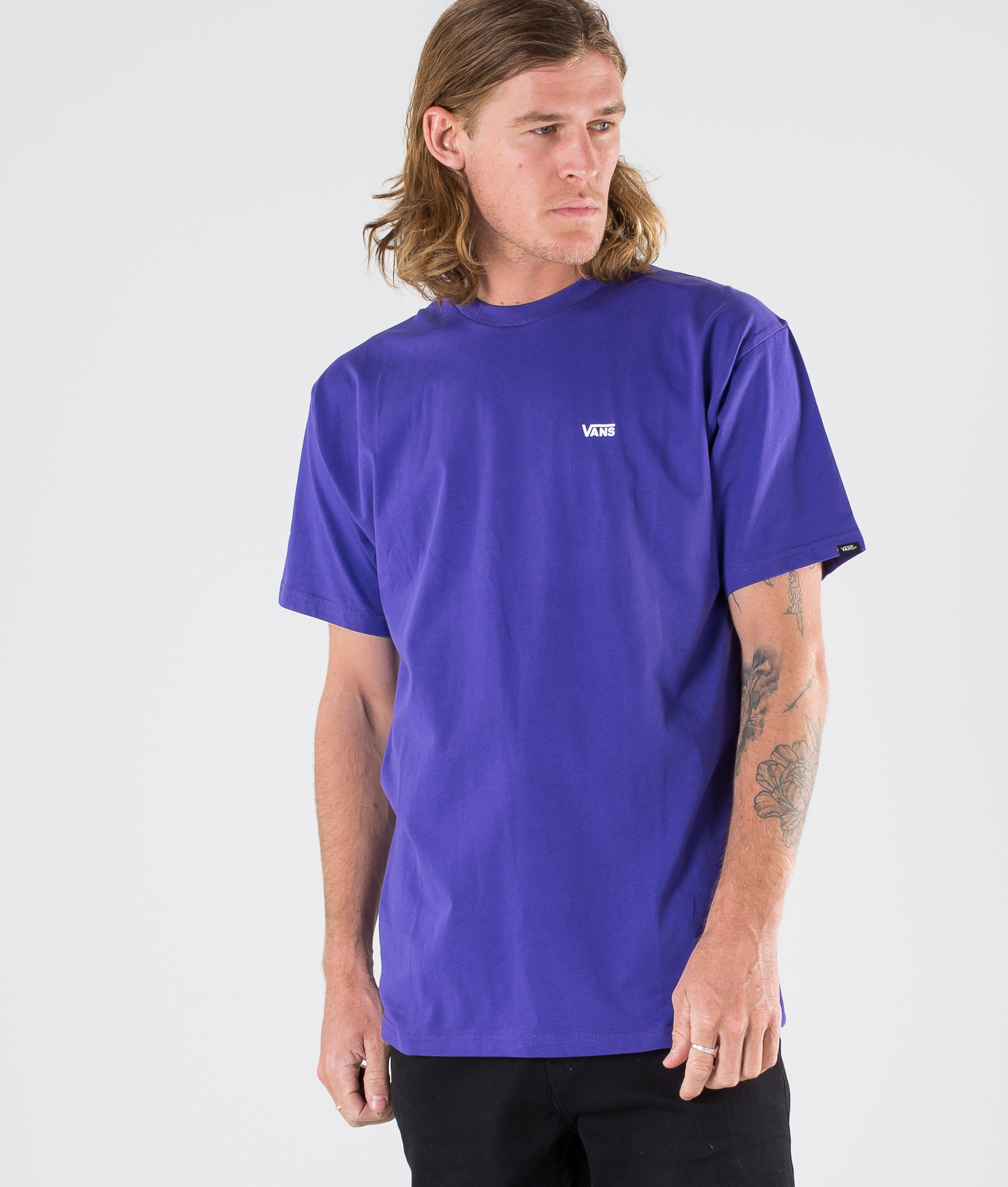 Vans Left Chest Logo T Shirt Vans Purple Ridestore Com