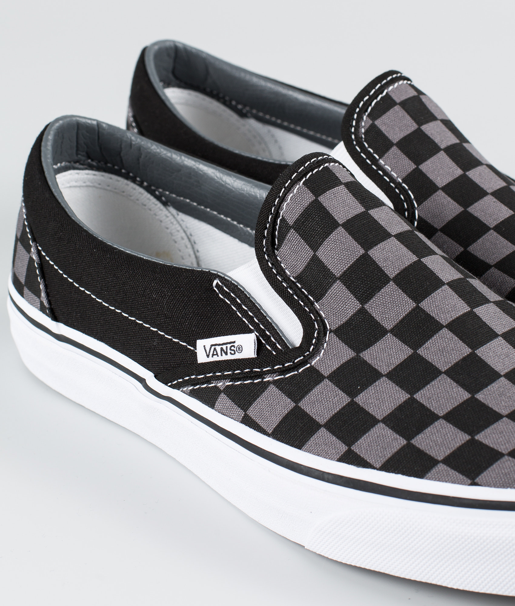 9d4cf86314 Vans Classic Slip-On Shoes Black Pewter Checkerboard - Ridestore.com