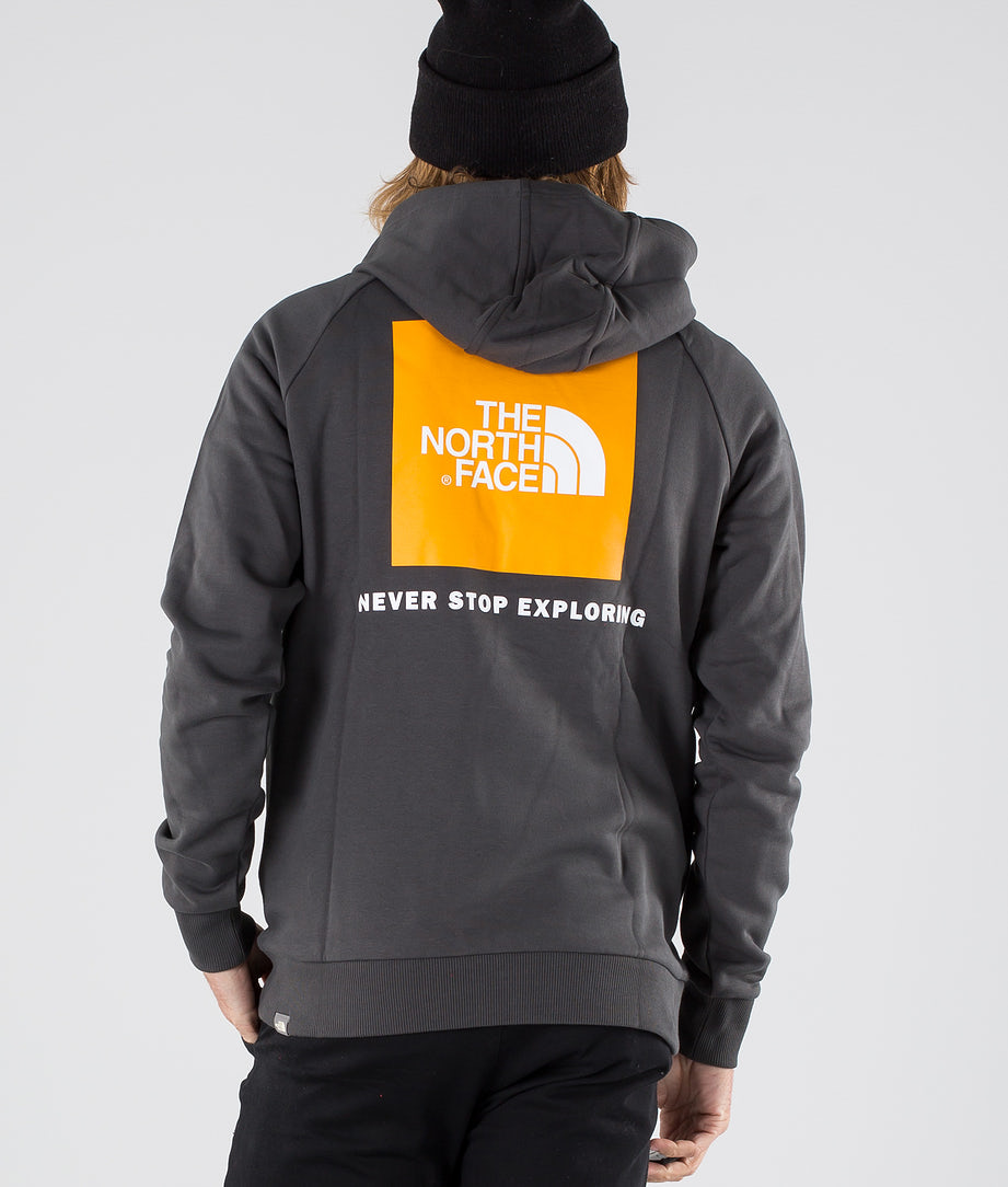The North Face Raglan Red Box Hoodie Asphalt Gr/Zinnia Orange