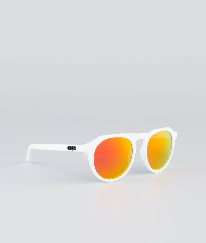 Dope Oldskool III Sunglasses Glossy white w/Red Mirror