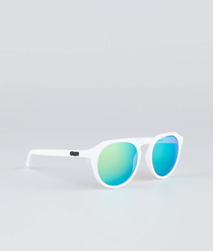 Dope Oldskool III Sunglasses Glossy white w/Green Mirror