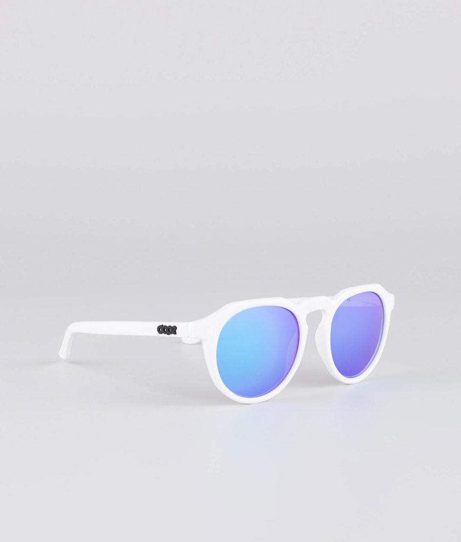Dope Oldskool III Sunglasses Glossy White w/Purple Mirror