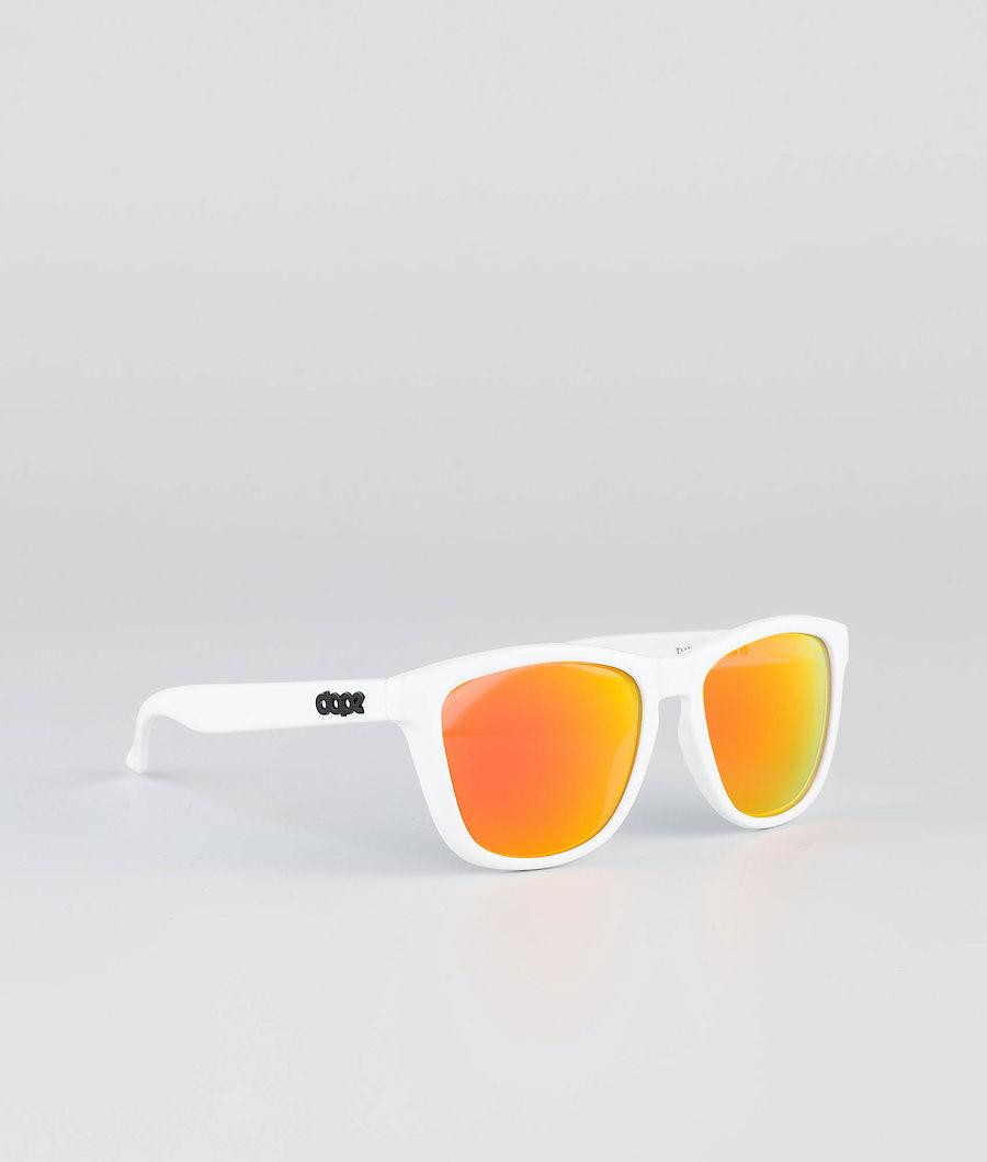 Dope Daywalker II Sunglasses Glossy White w/Red mirror