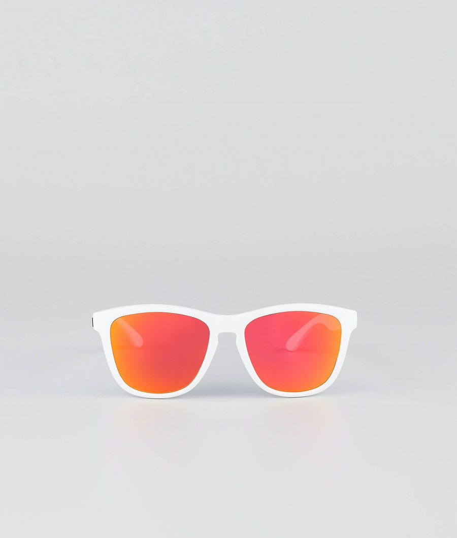 Dope Daywalker II Sunglasses Glossy White w/Red mirror