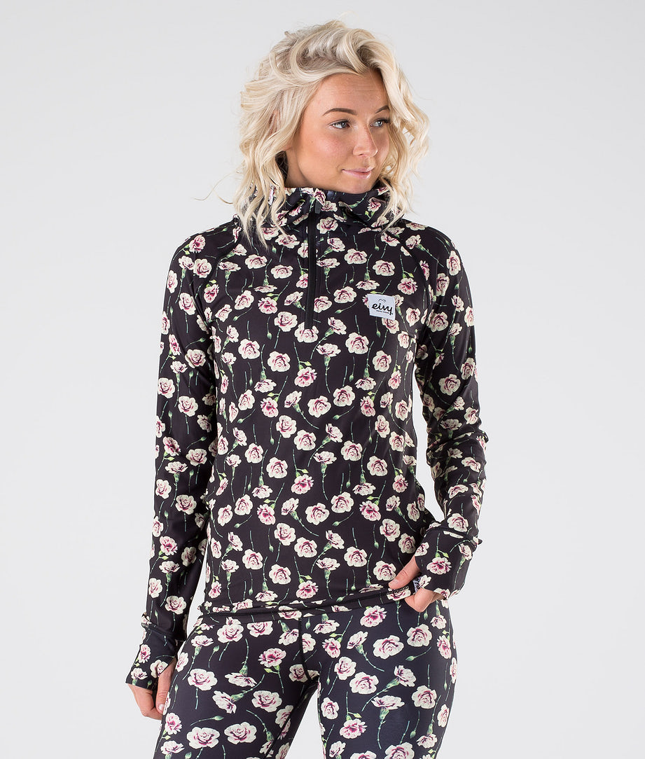 Eivy Icecold Zip Hood Base Layer Top Fallen Roses