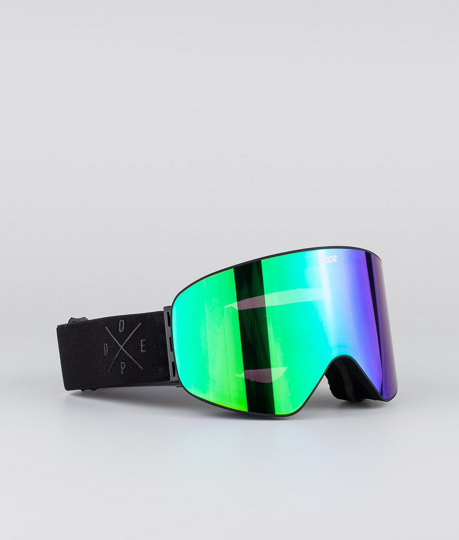 Dope Flush 2X-UP Ski Goggle Black W/All Black Green Mirror
