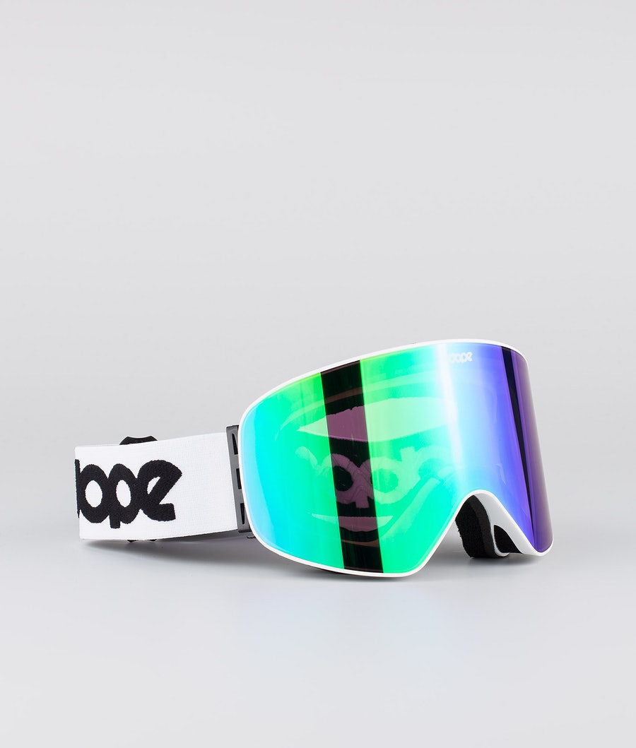 Dope Flush OG Masque de ski White W/White Green Mirror