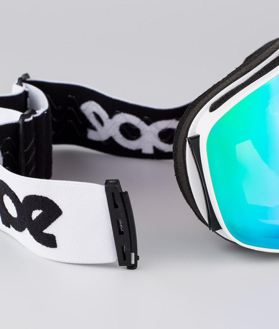 Dope Flush OG Ski Goggle White W/White Green Mirror