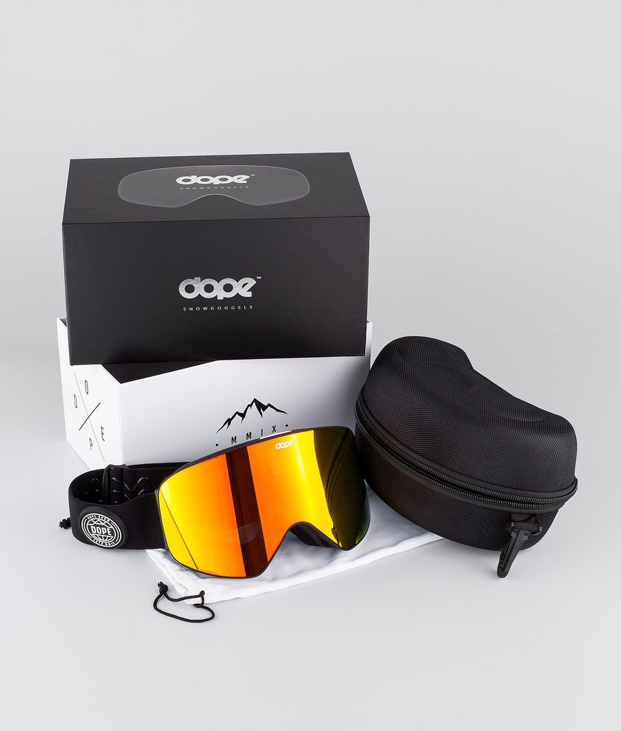 Dope Flush Glotain II Ski Goggle Black W/Red Mirror