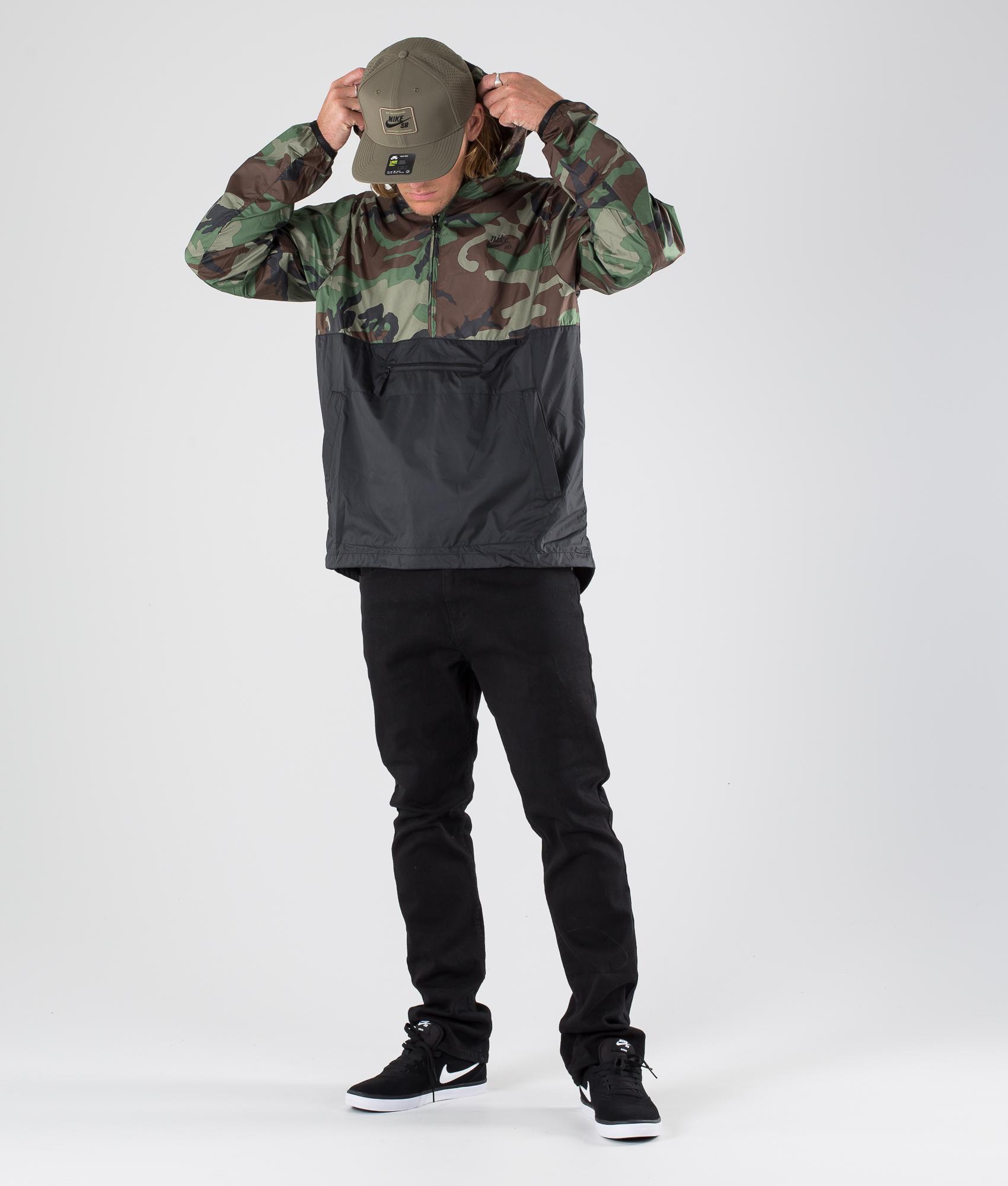 Nike SB Anorak Camo Jacke Medium OliveBlackBlack