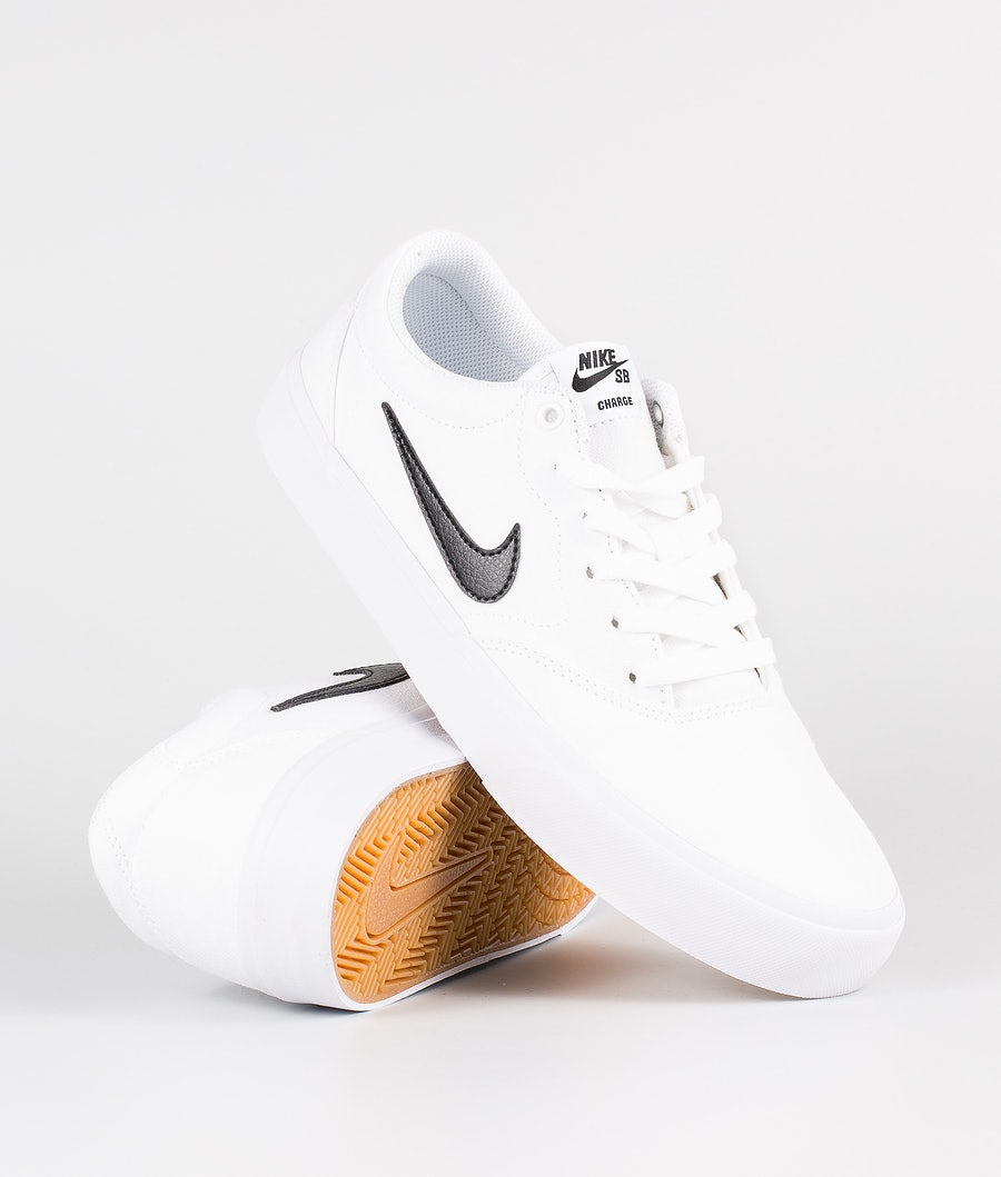 Nike SB Charge Canvas Skor White/Black-White-Gum Light Bwon