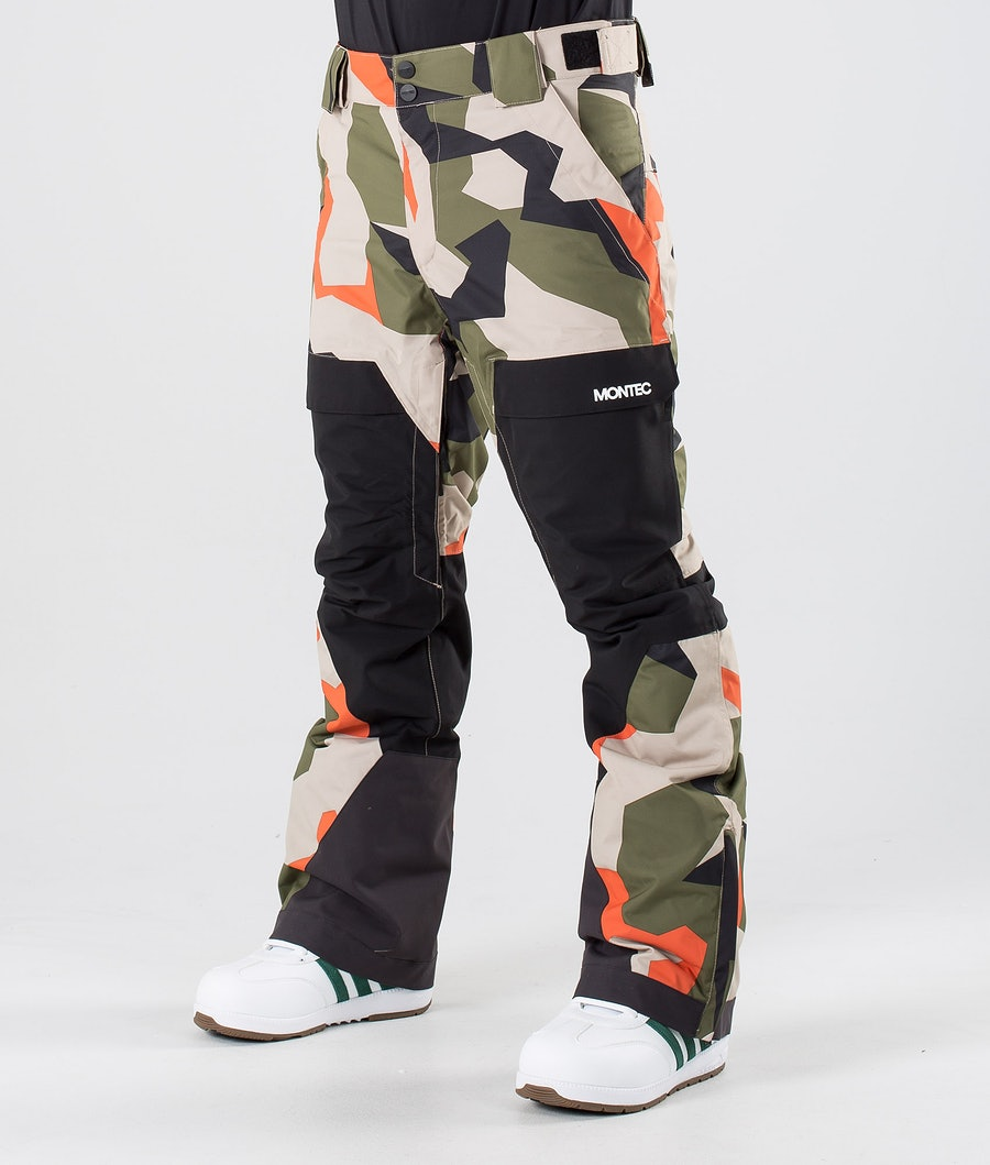 Montec Dune Snow Pants Orange Green Camo