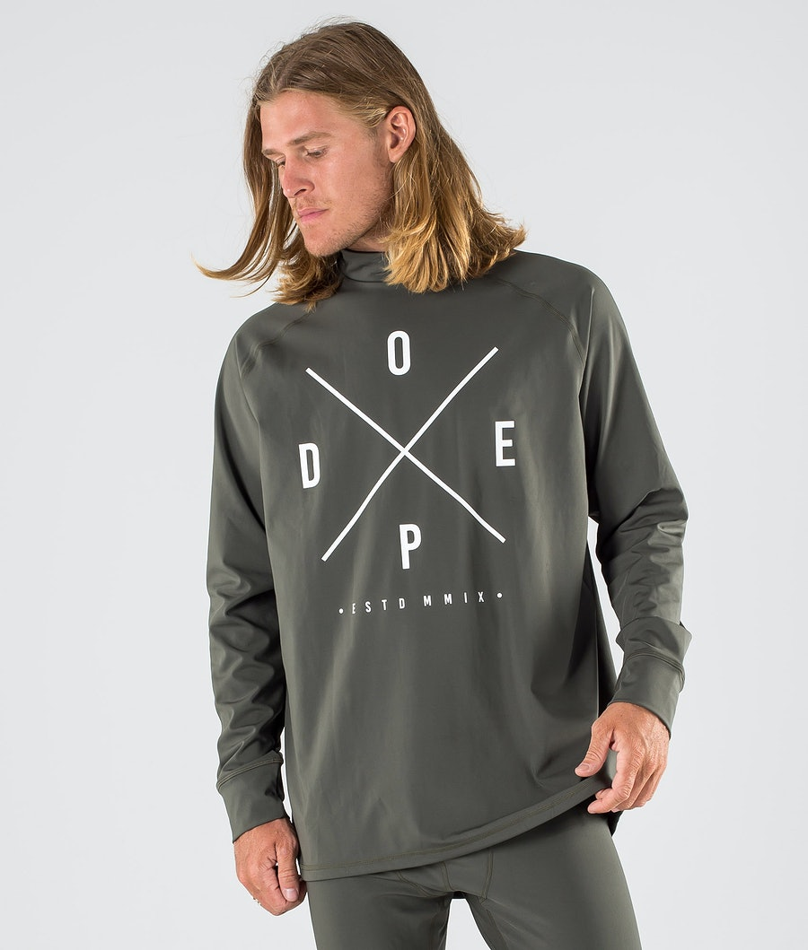 Dope Snuggle 2X-UP Basislaag Top Olive Green