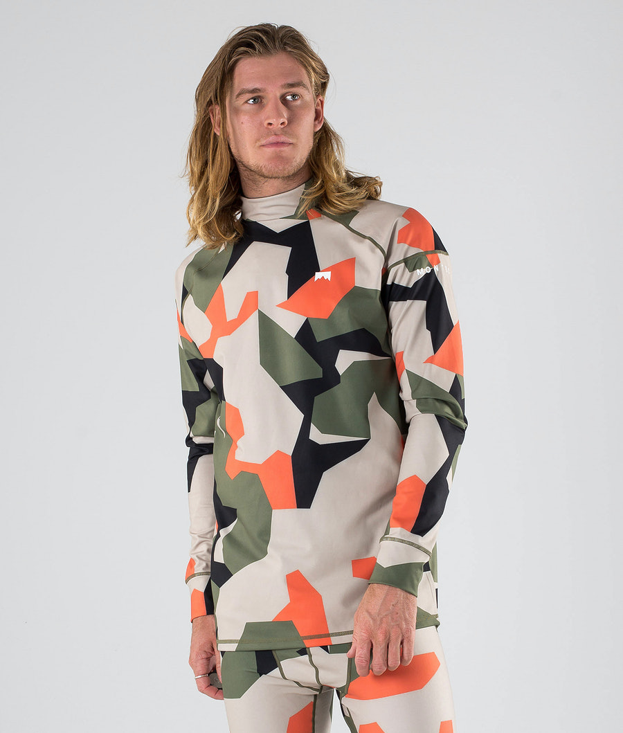 Montec Zulu Base Layer Top Orange Green Camo