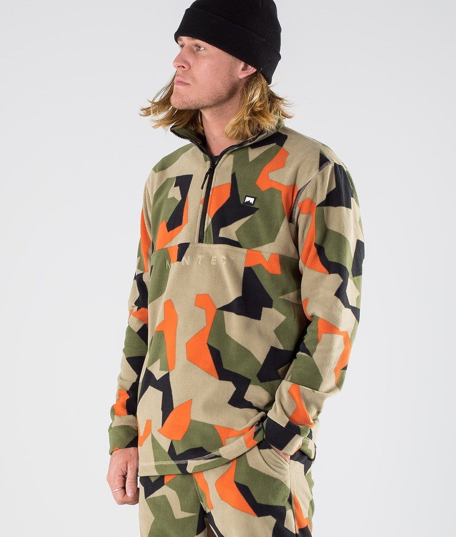 Montec Echo Fleecepullover Green Orange Camo