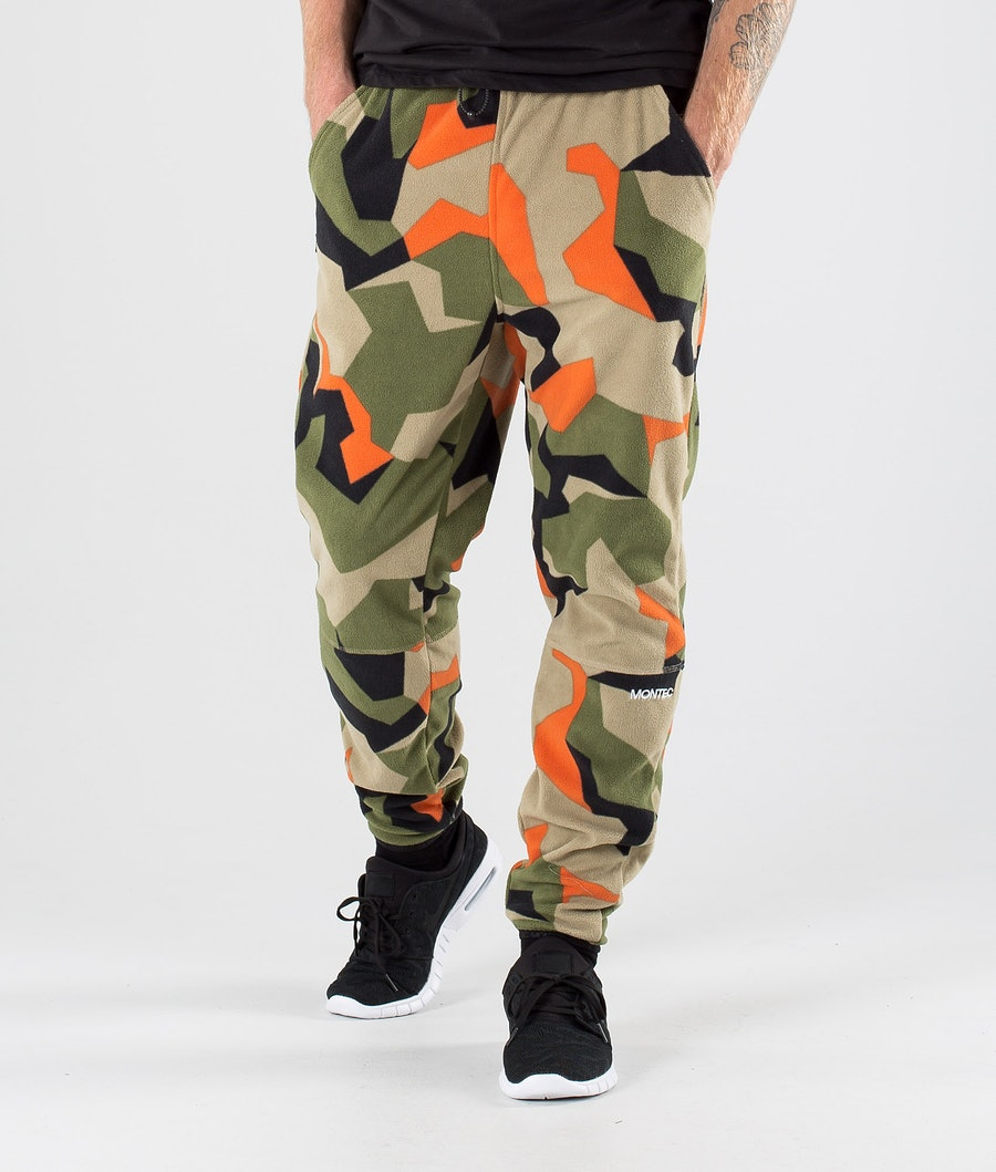 Montec Echo Fleecebukse Green Orange Camo