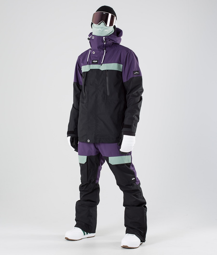 Dope Lunar Snowboardjakke Grape Faded Green Black