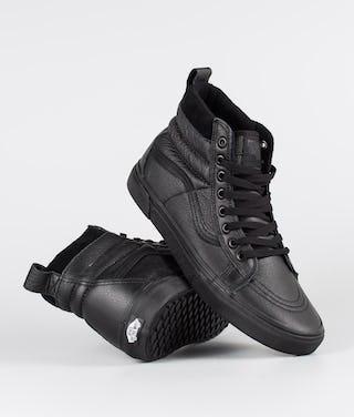 all black leather vans sk8 hi