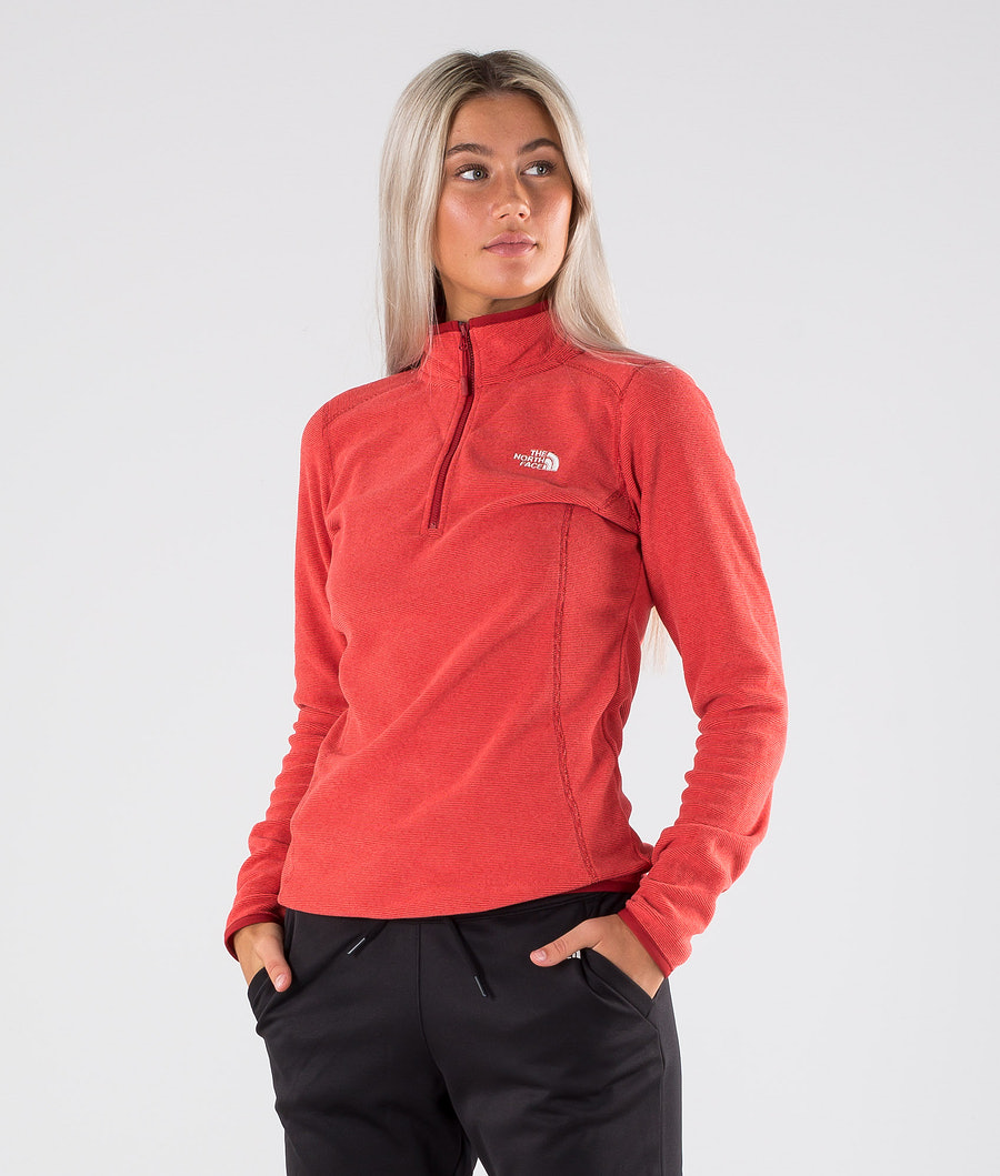 The North Face 100 Glacier 1/4 Zip Gensere Cardinal Red/Juicy Red Stripe