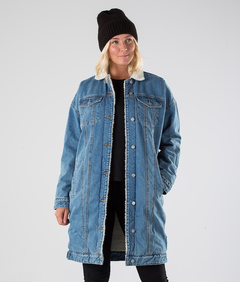 Dr Denim Nadina Sherpa Jakke Generation Blue