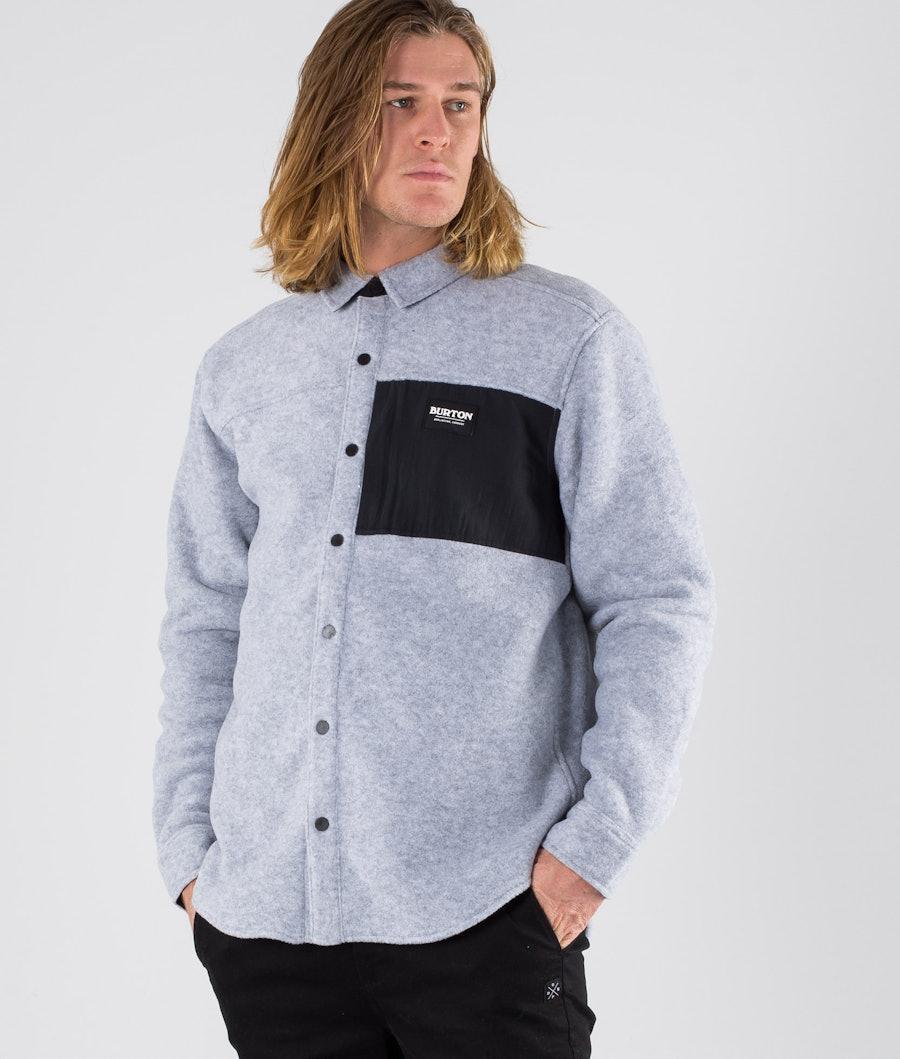 Burton Hearth Fleece Hemd Grey Heather/True Black