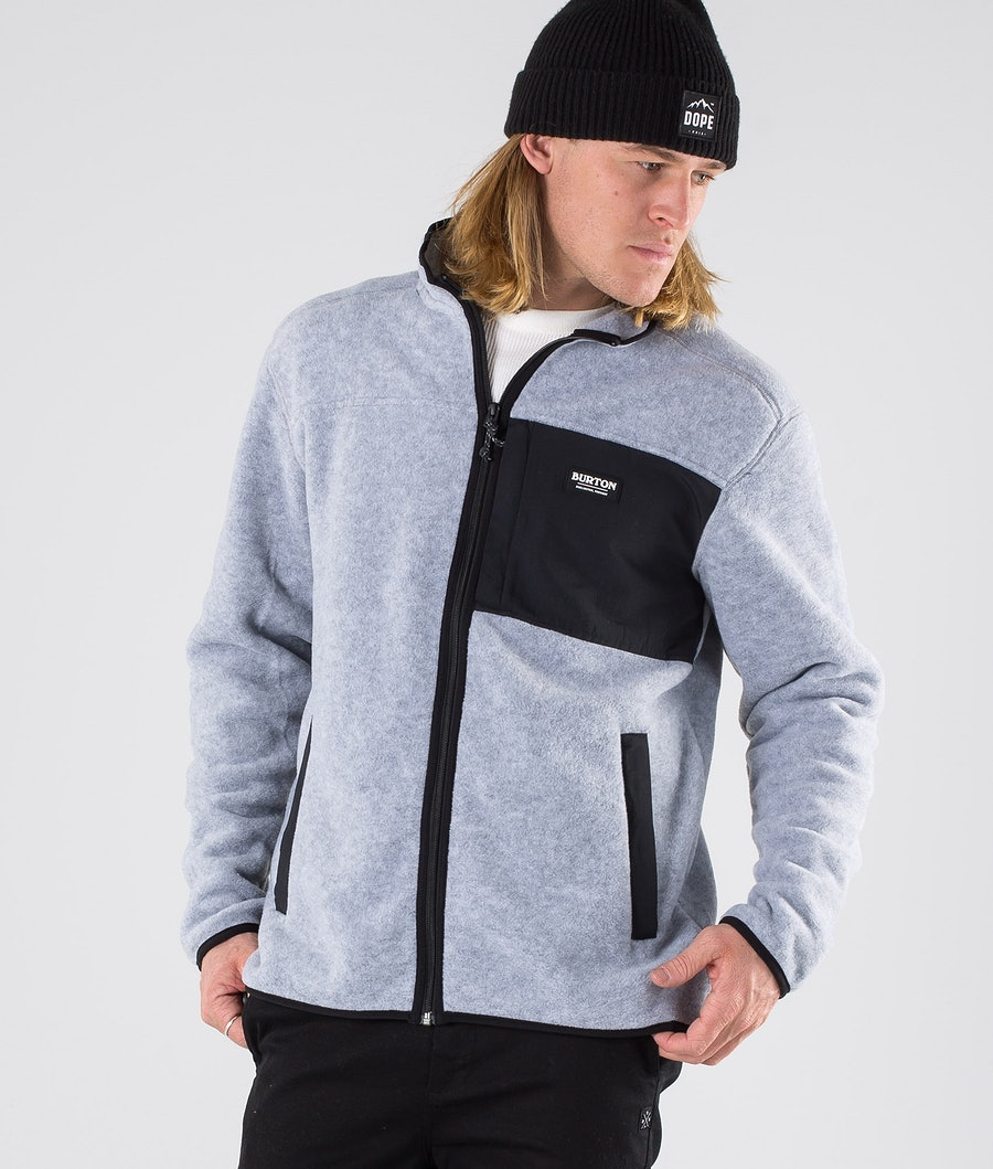 Burton Hearth Full Zip Pull Gray Heather/True Black
