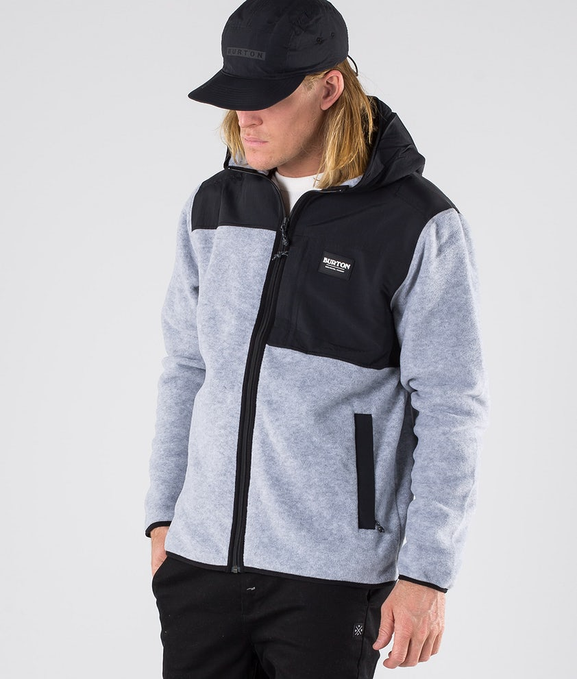 Burton Hearth Hooded Full Zip Gensere Grey Heather/True Black