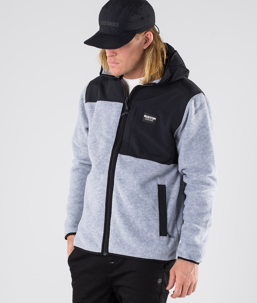Burton Hearth Hooded Full Zip Sweater Grey Heather/True Black