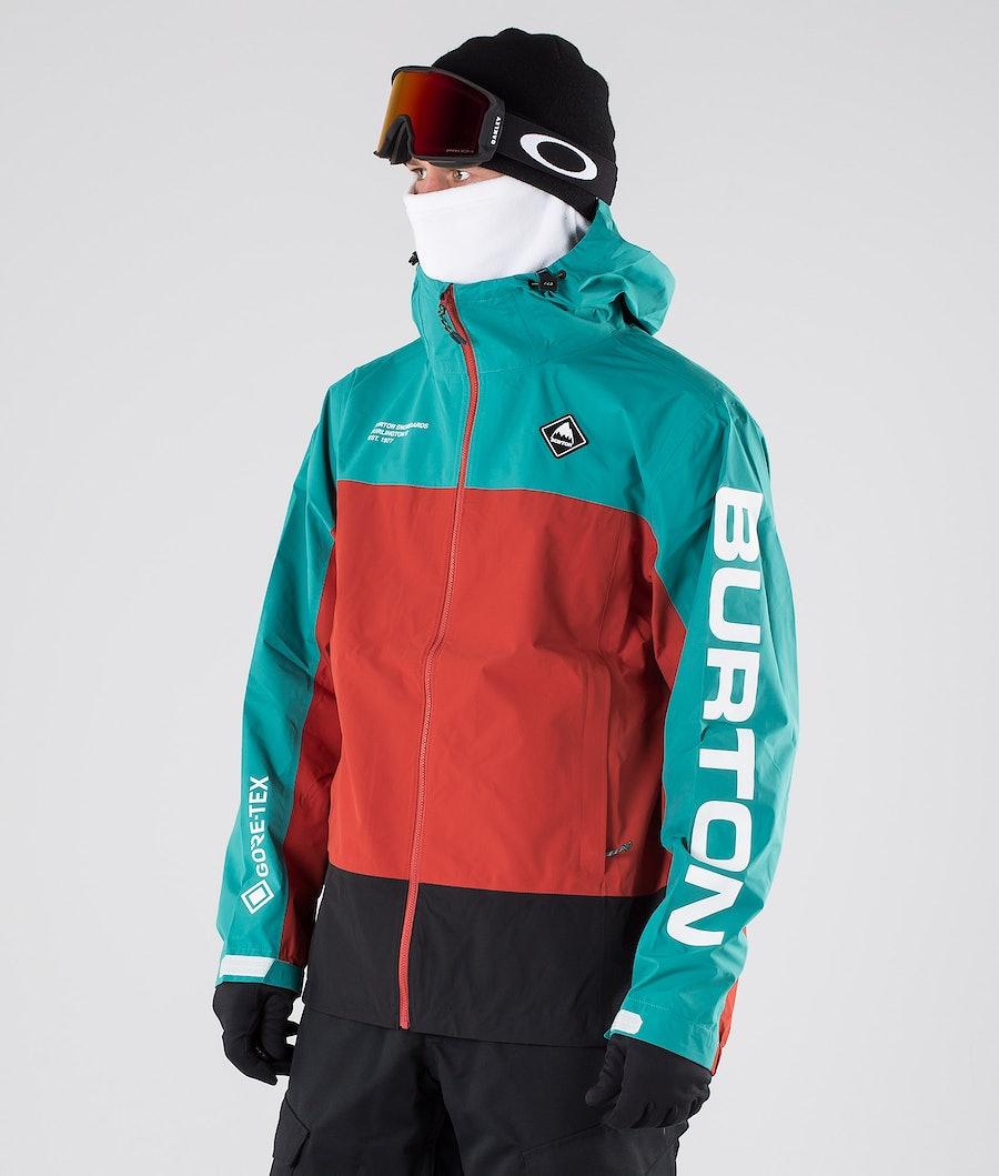Burton Gore Tex Putnam Packrite Giacca da snowboard Green-Blue Slate/Tandori/True Black
