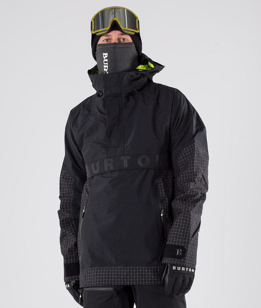 Burton Frostner Anorak Snowboardjacka True Black/True Black Ripstop