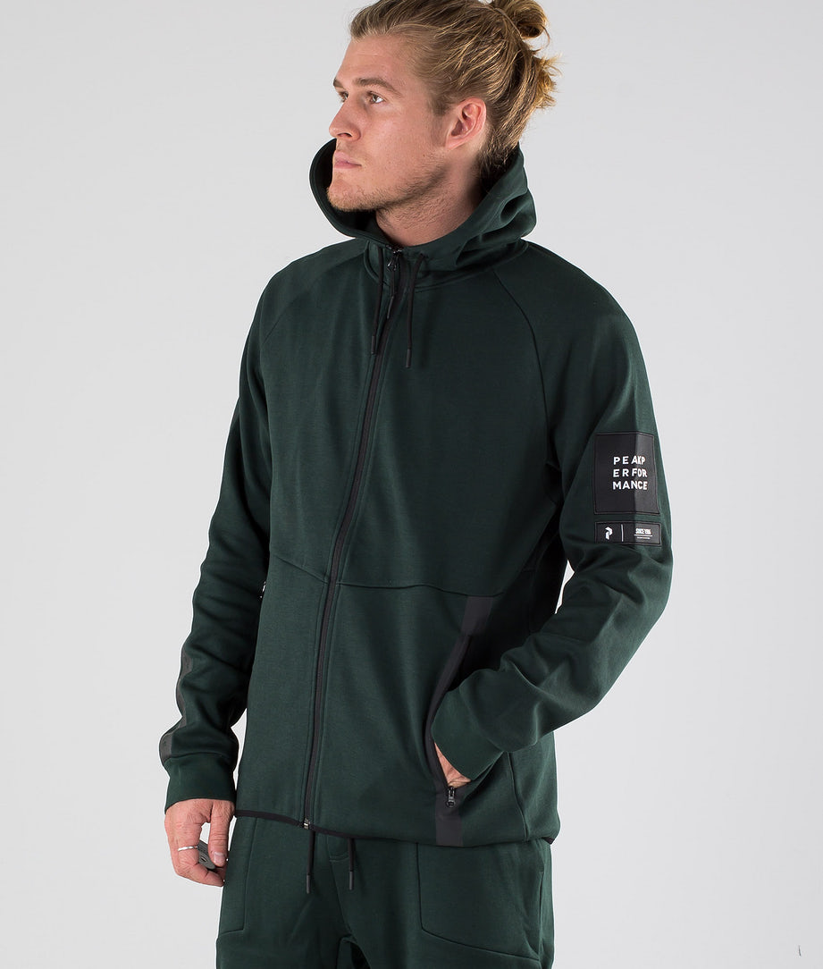 Peak Performance Tech Zip Hoodie Scarab Green