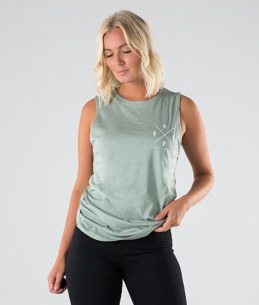 Dope Sleevless 2X-up Tank-Top Faded Green
