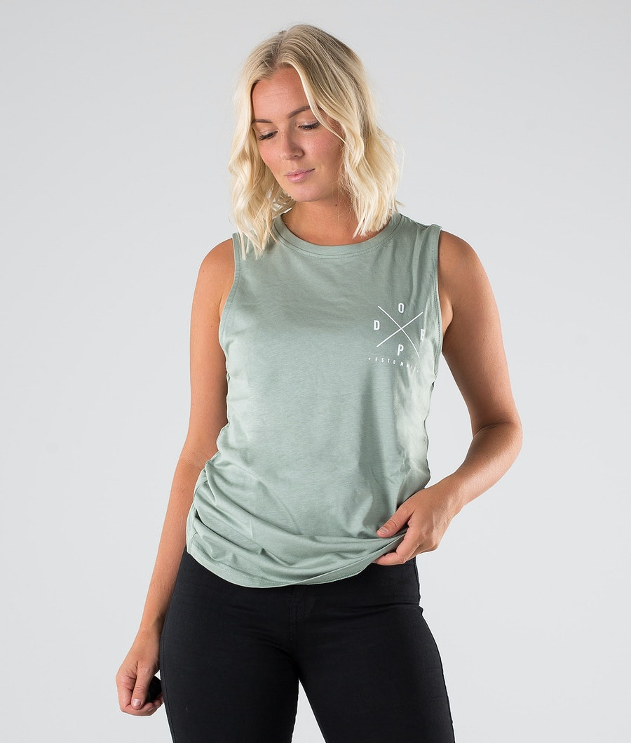 Dope Sleevless 2X-up Tank top Faded Green
