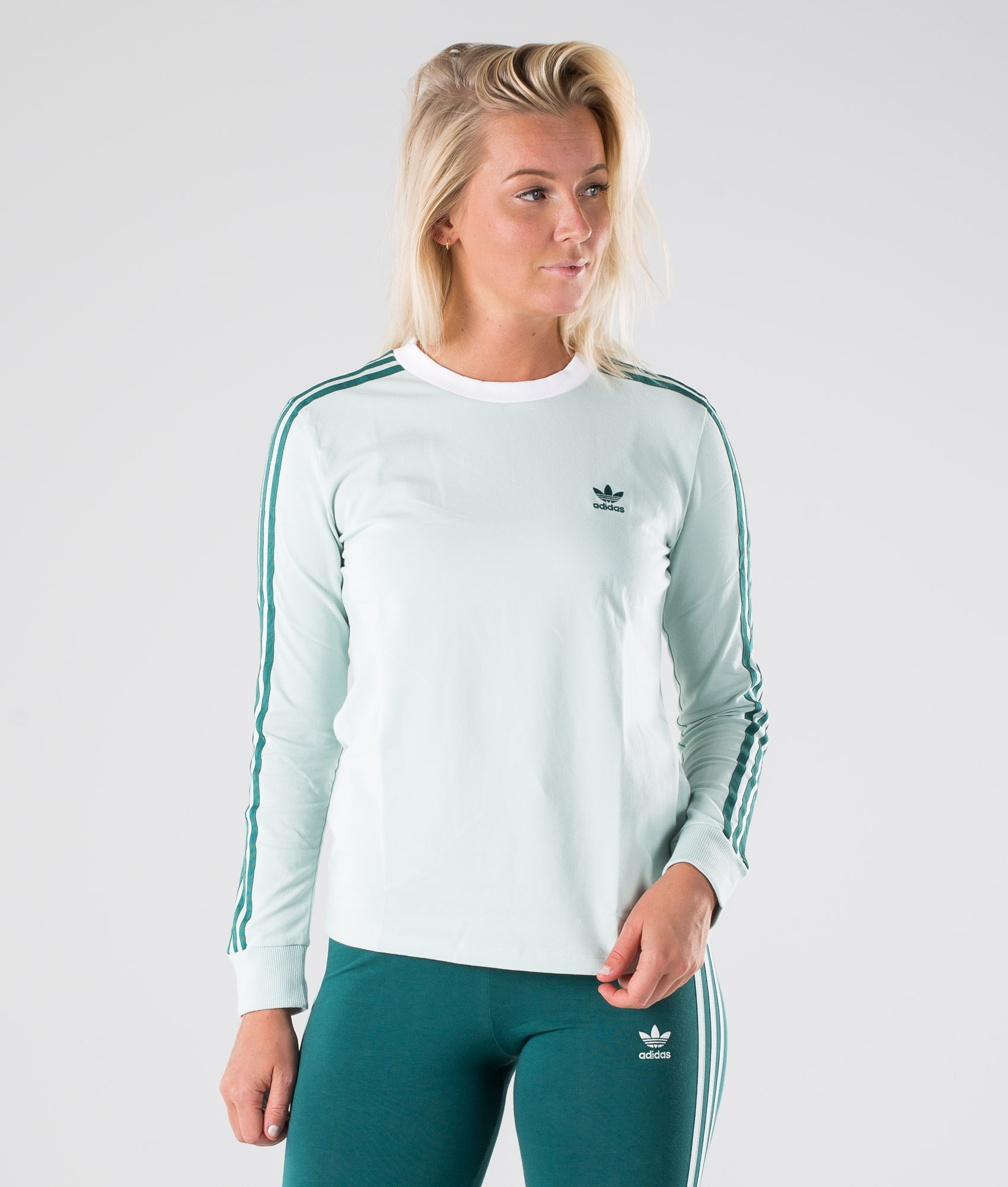Adidas Originals 3 Stripes Long Sleeve Tee Longsleeve Vapour Green