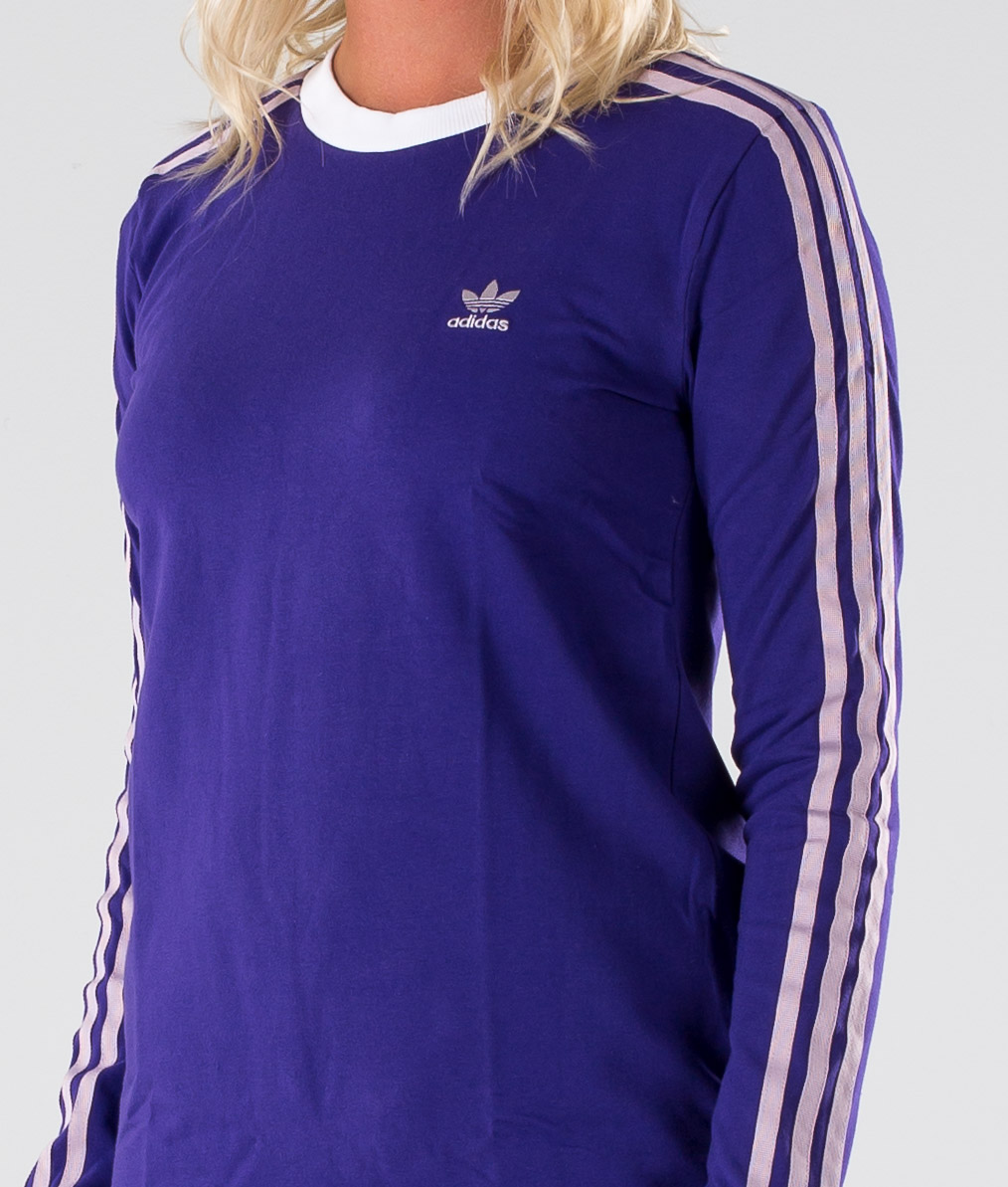 Adidas Originals 3 Stripes Long Sleeve T shirt Collegiate Purple
