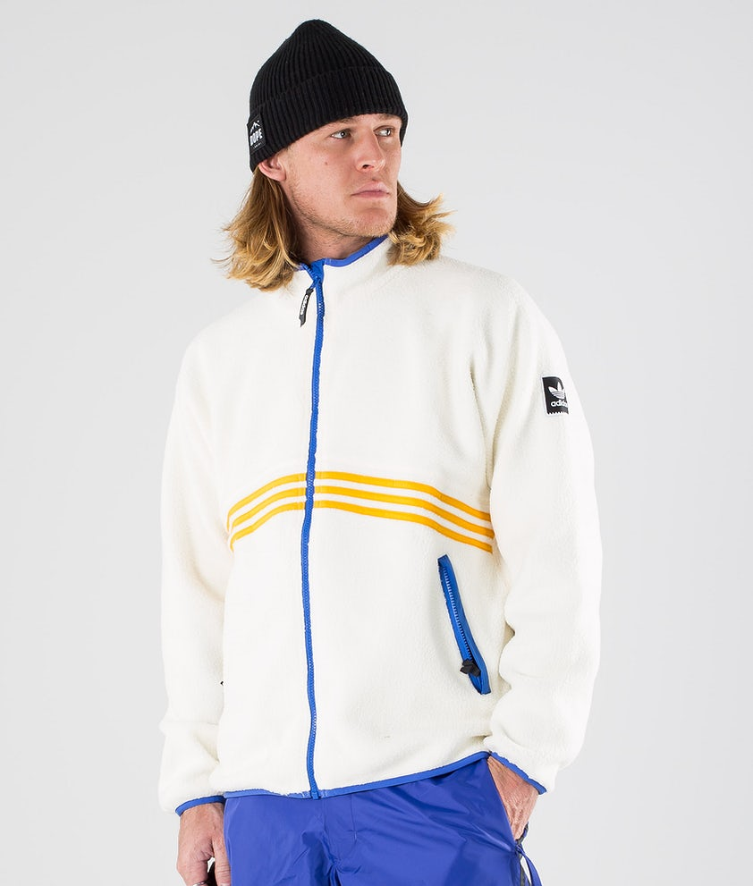Adidas Skateboarding Sherpa Full Zip Giacca Cream White/Collegiate Orange/Hi-Res Blue S18/Carbon