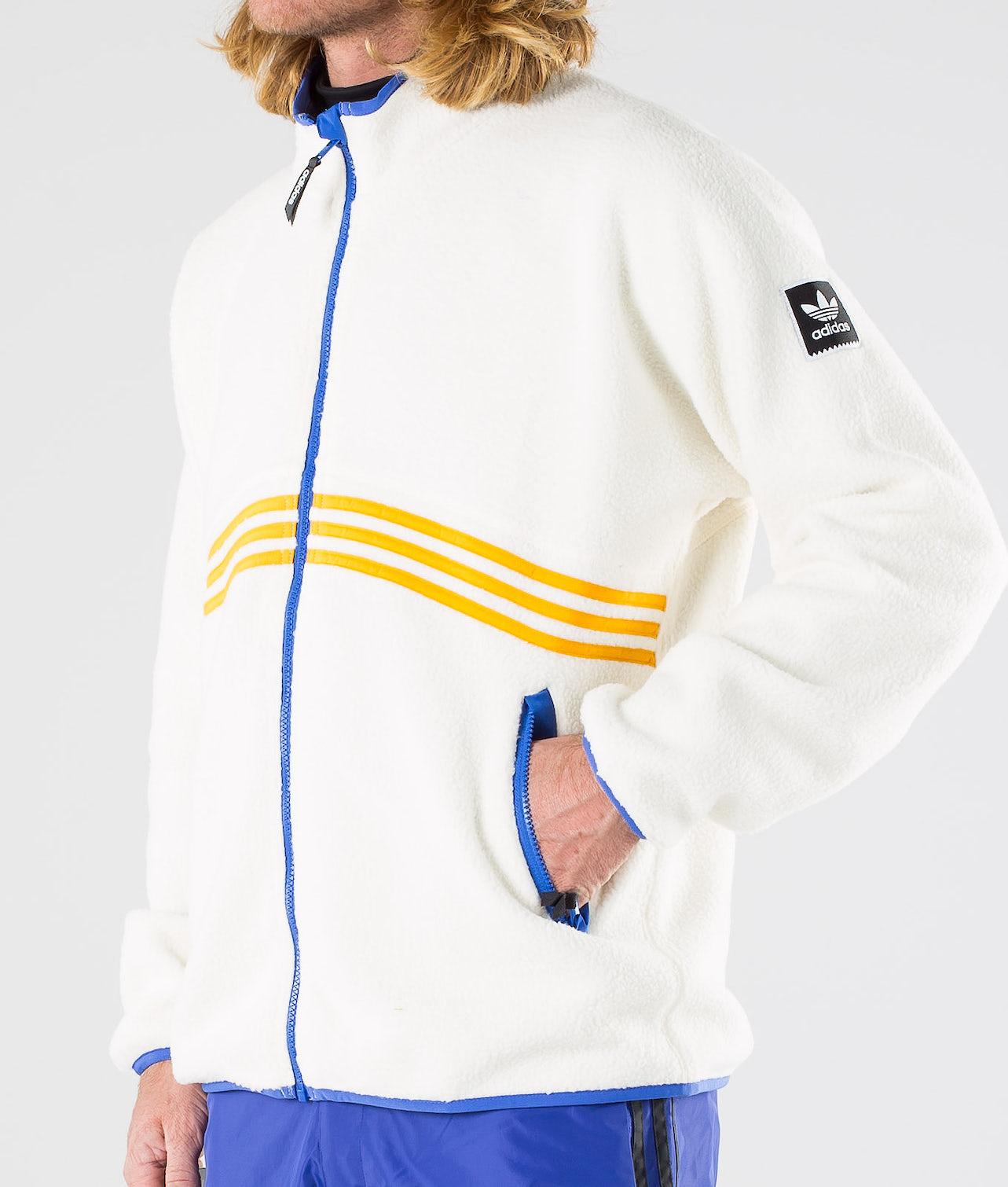Adidas Skateboarding Sherpa Full Zip Jacka Cream White/Collegiate Orange/Hi-Res Blue S18/Carbon