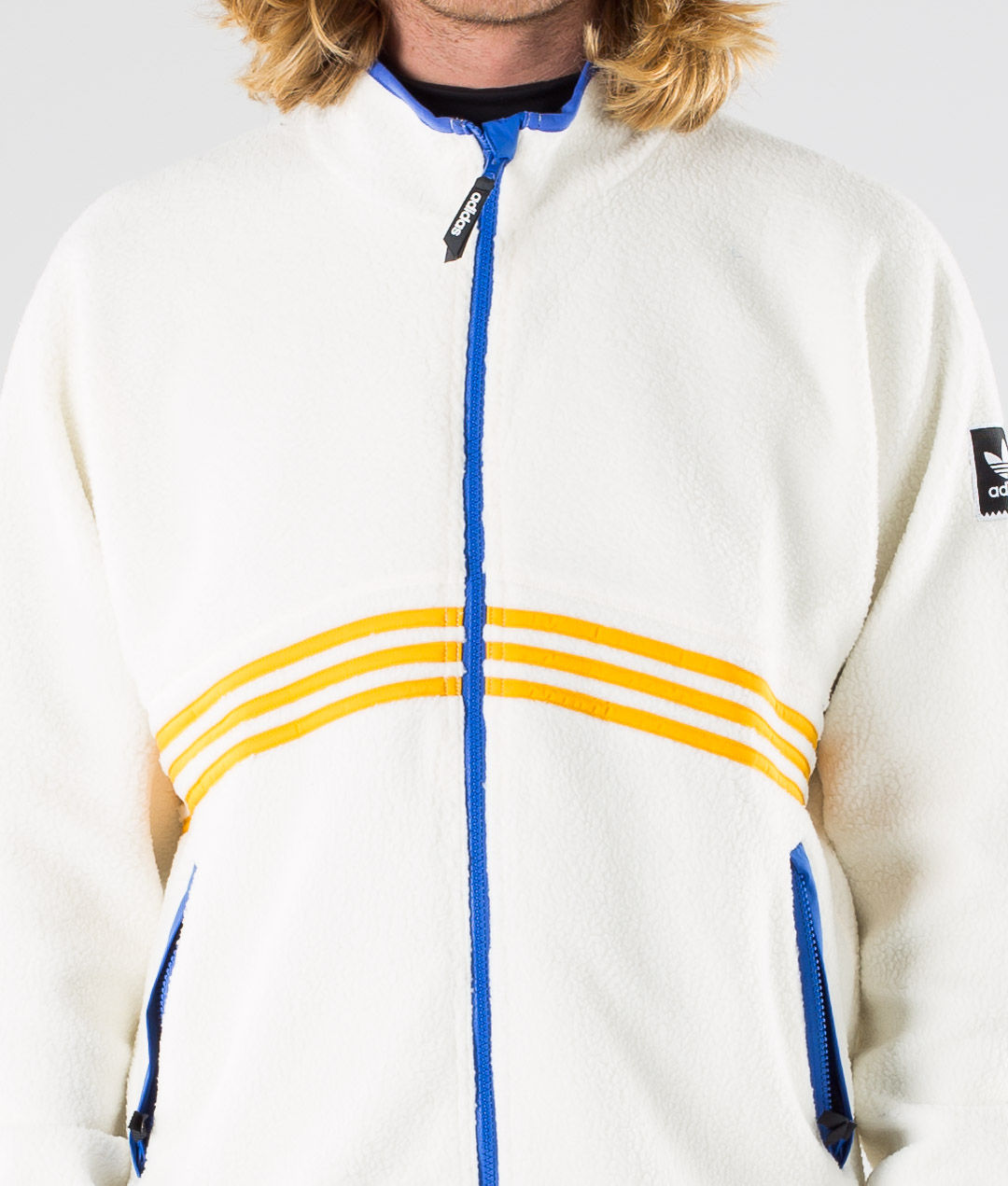 Adidas Skateboarding Sherpa Full Zip Giacca Cream WhiteCollegiate OrangeHi Res Blue S18Carbon